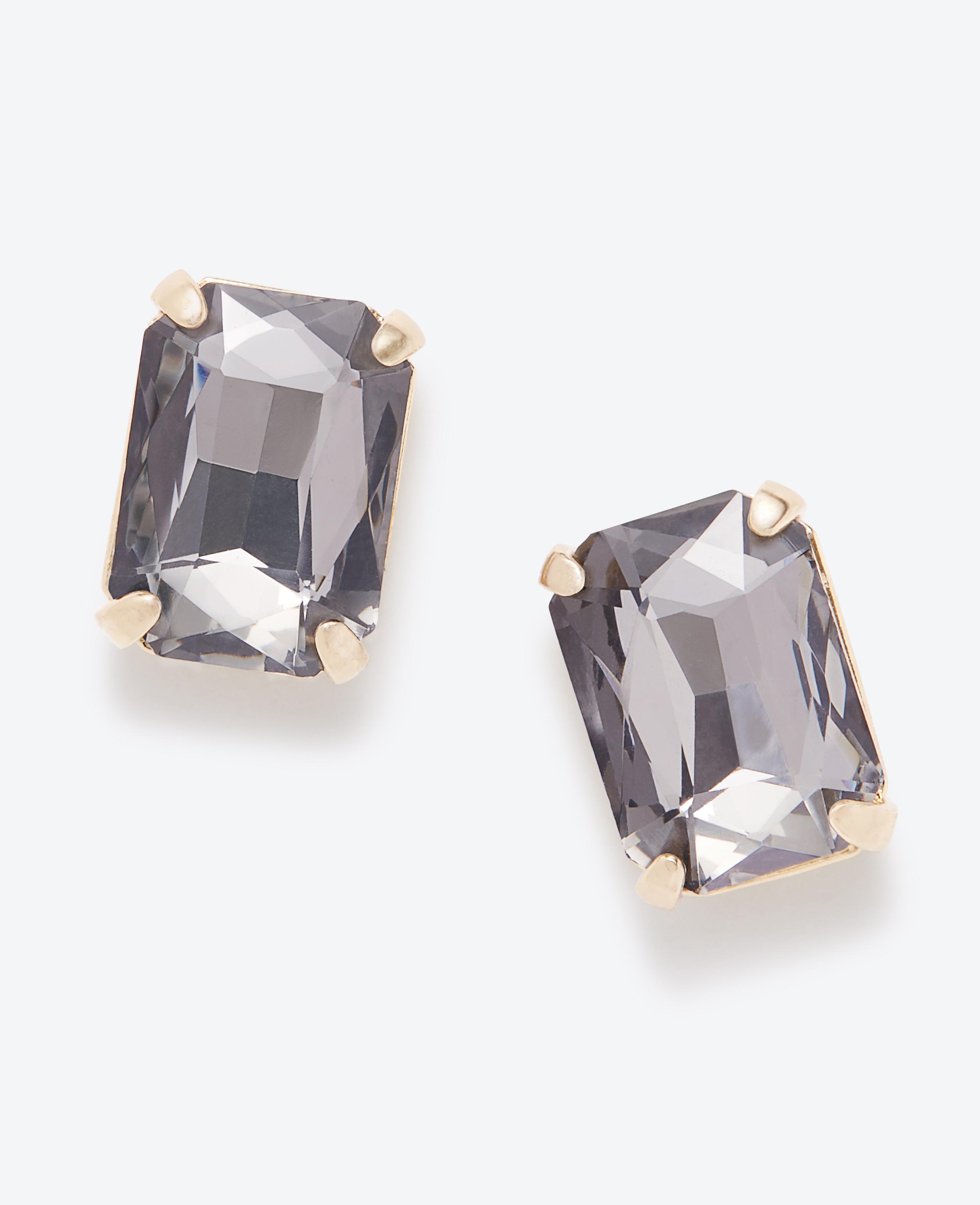 0c8ef5520 Lyst - Ann Taylor Smoky Crystal Rectangle Stud Earrings in Gray