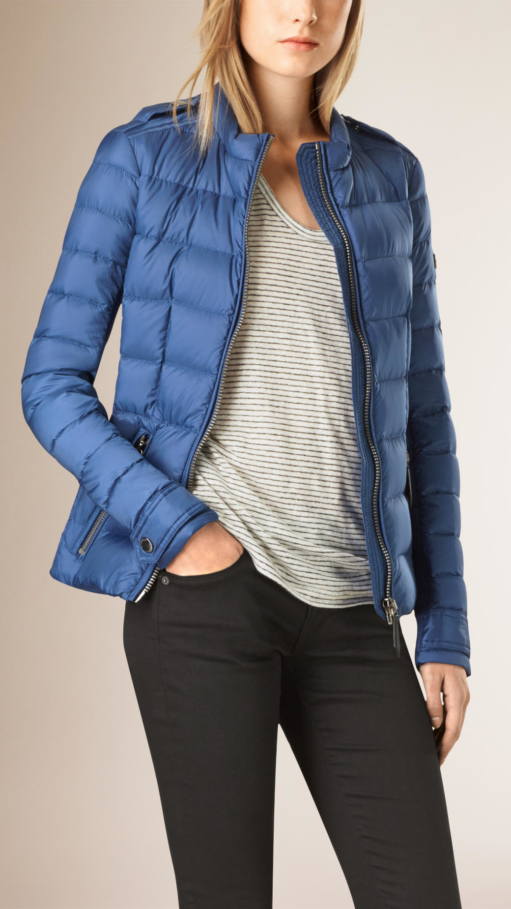 Burberry Lightweight Down-filled Fitted Jacket Iris Blue in Blue ...