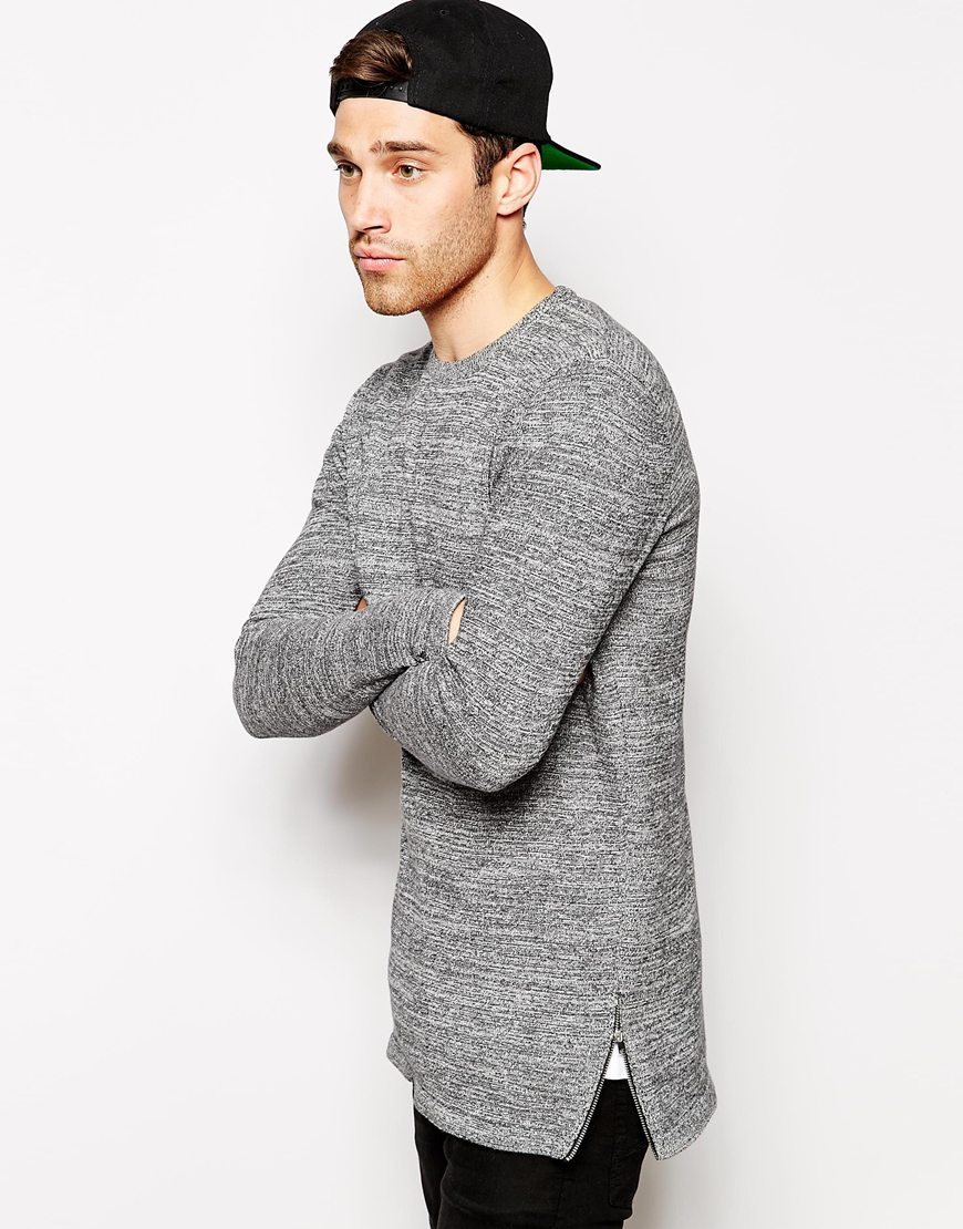 Asos Longline Jumper With Zips in Black for Men | Lyst