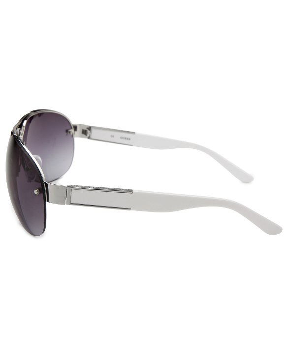Guess White Aviator Sunglasses  guess aviator semi rimless silver tone sunglasses in metallic for
