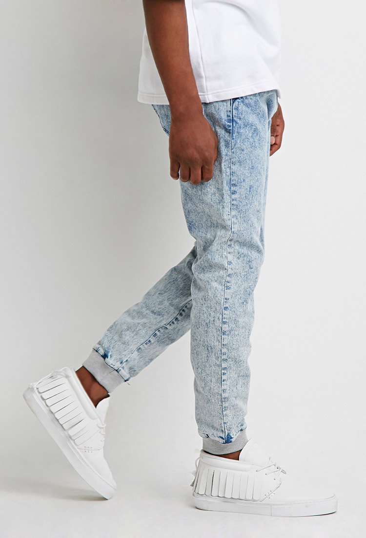 Lyst - Forever 21 Paneled Acid Wash Joggers in Blue for Men 37e5949a3