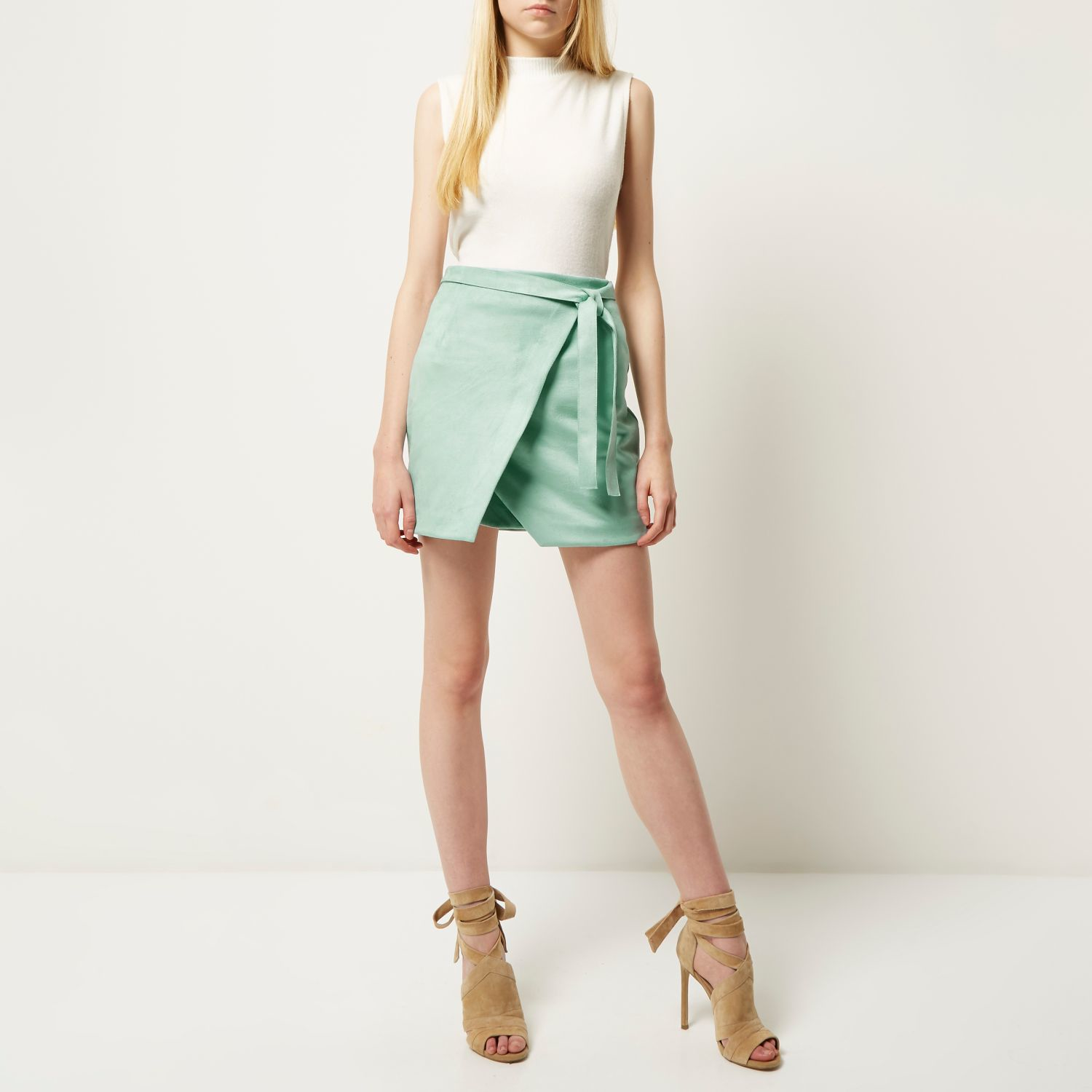 River island Mint Green Faux Suede Wrap Mini Skirt in Green | Lyst