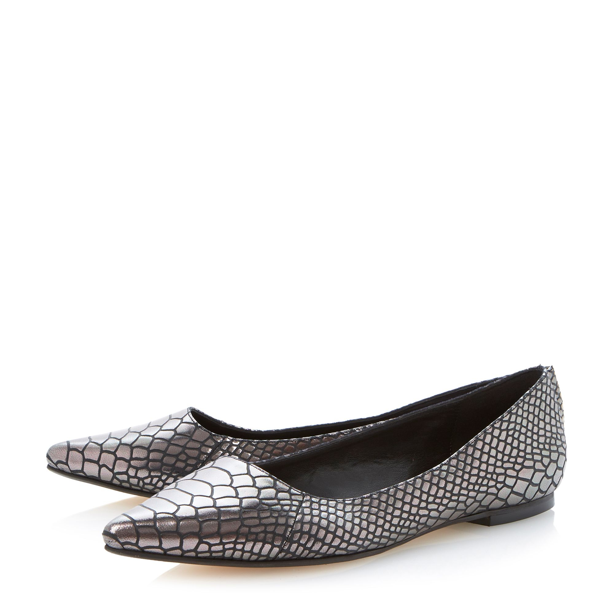 Dune Amarie Flat Pointed Toe Court Shoes In Metallic   Lyst