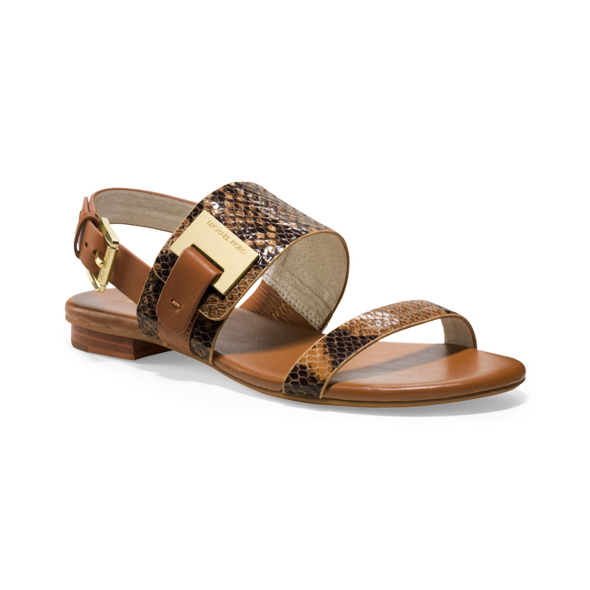Michael Kors Michael Guiliana Flat Sandals In Brown Lyst