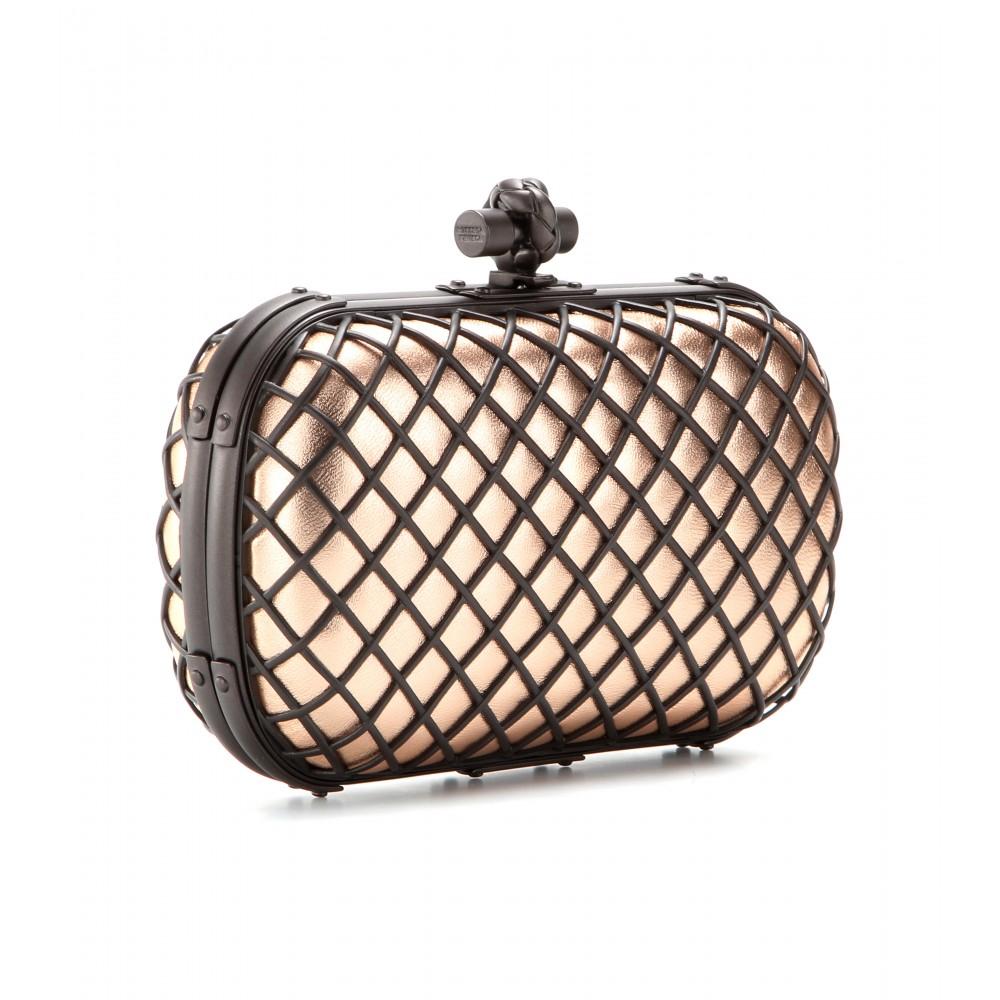 lyst bottega veneta knot leather clutch in pink. Black Bedroom Furniture Sets. Home Design Ideas
