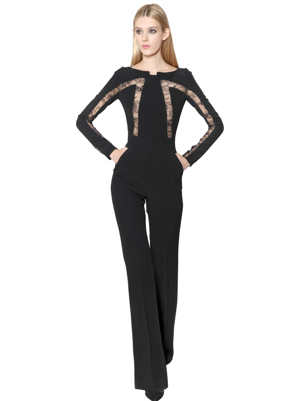 0b41fd22d93 Lyst - Elie Saab Viscose Crepe Lace   Organza Jumpsuit in Black