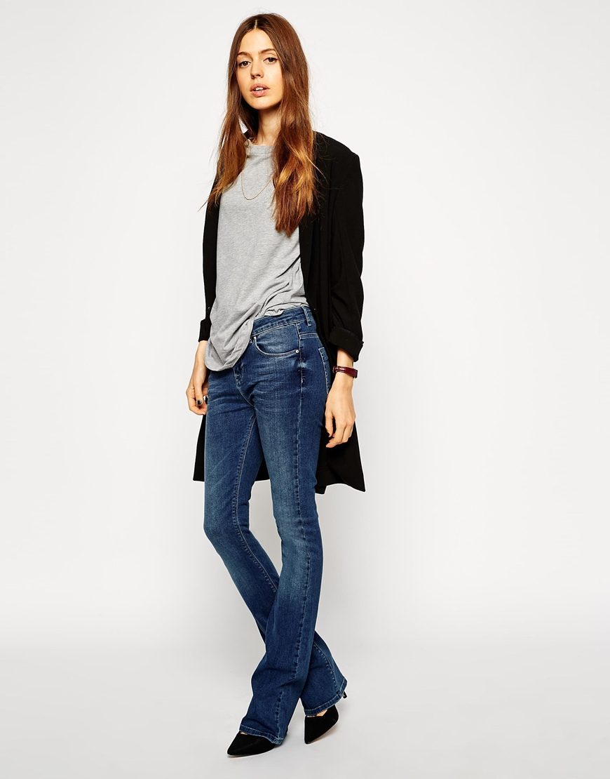terrific value hottest sale street price ASOS Blue Baby Kick Flare Jeans In Boston Mid Wash