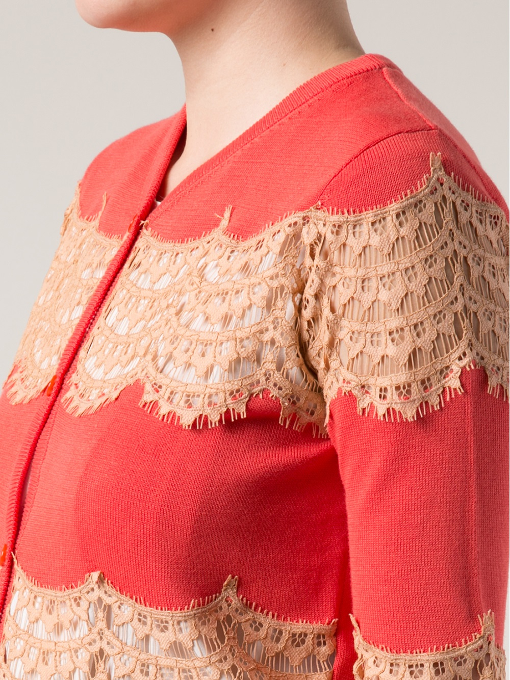 Carven Lace Inset Cardigan in Orange | Lyst