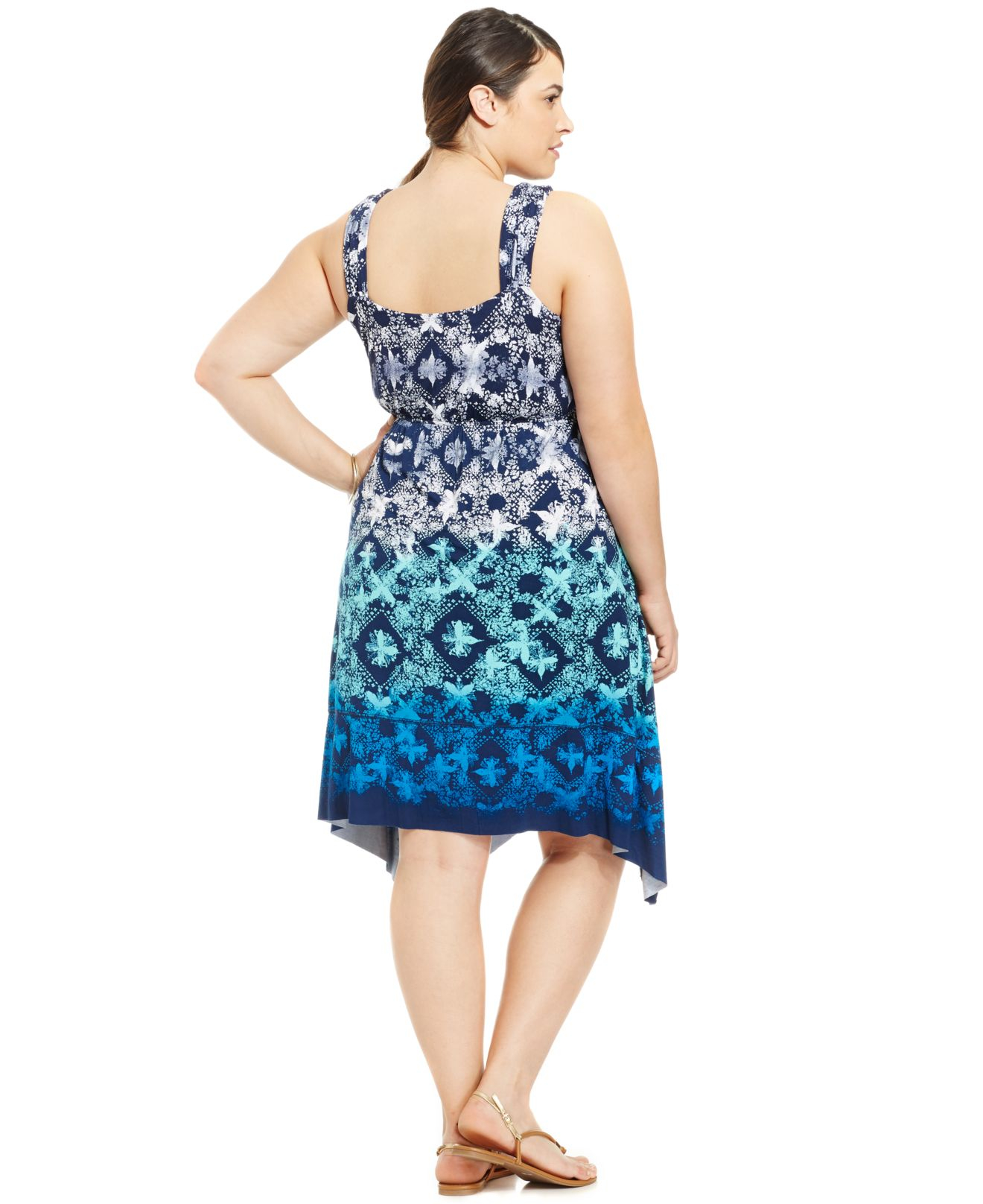 Style Co Plus Size Printed Handkerchief Hem Dress In Blue Lyst