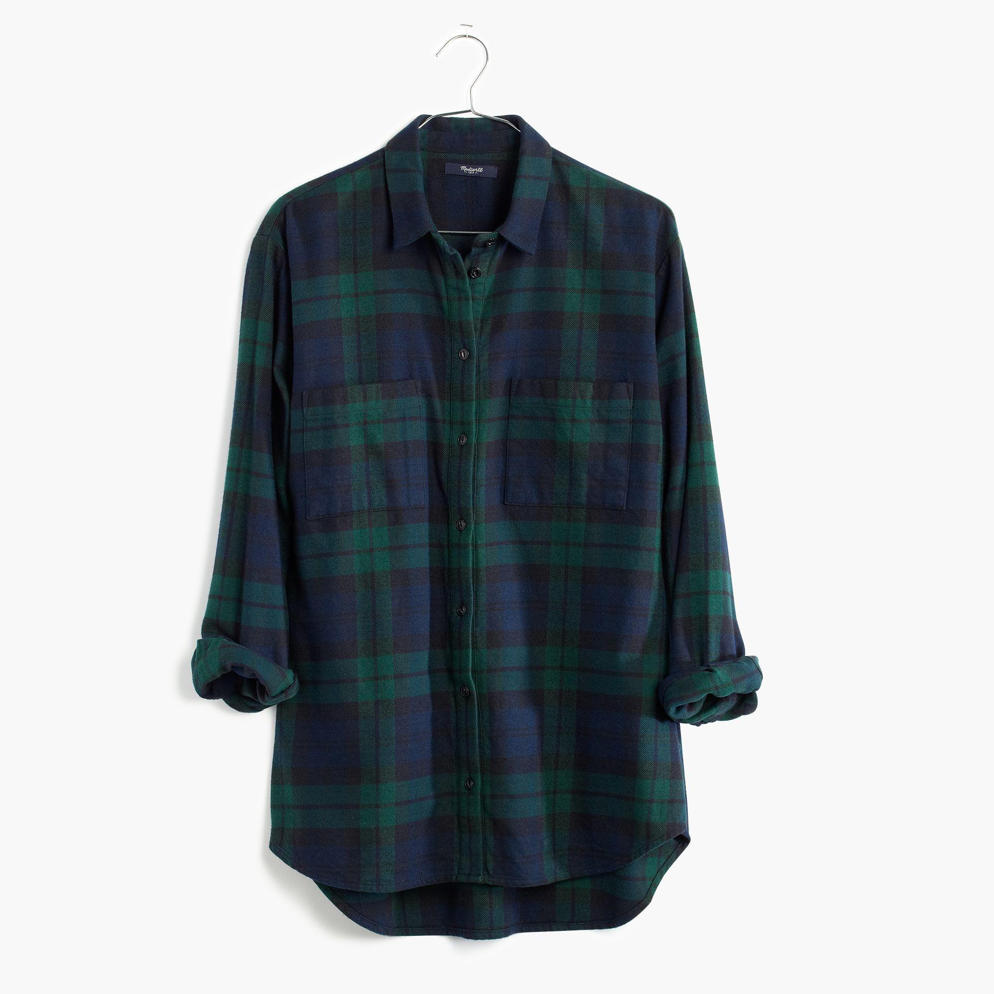 Madewell flannel oversized boyshirt in dark plaid in black for Black watch plaid flannel shirt