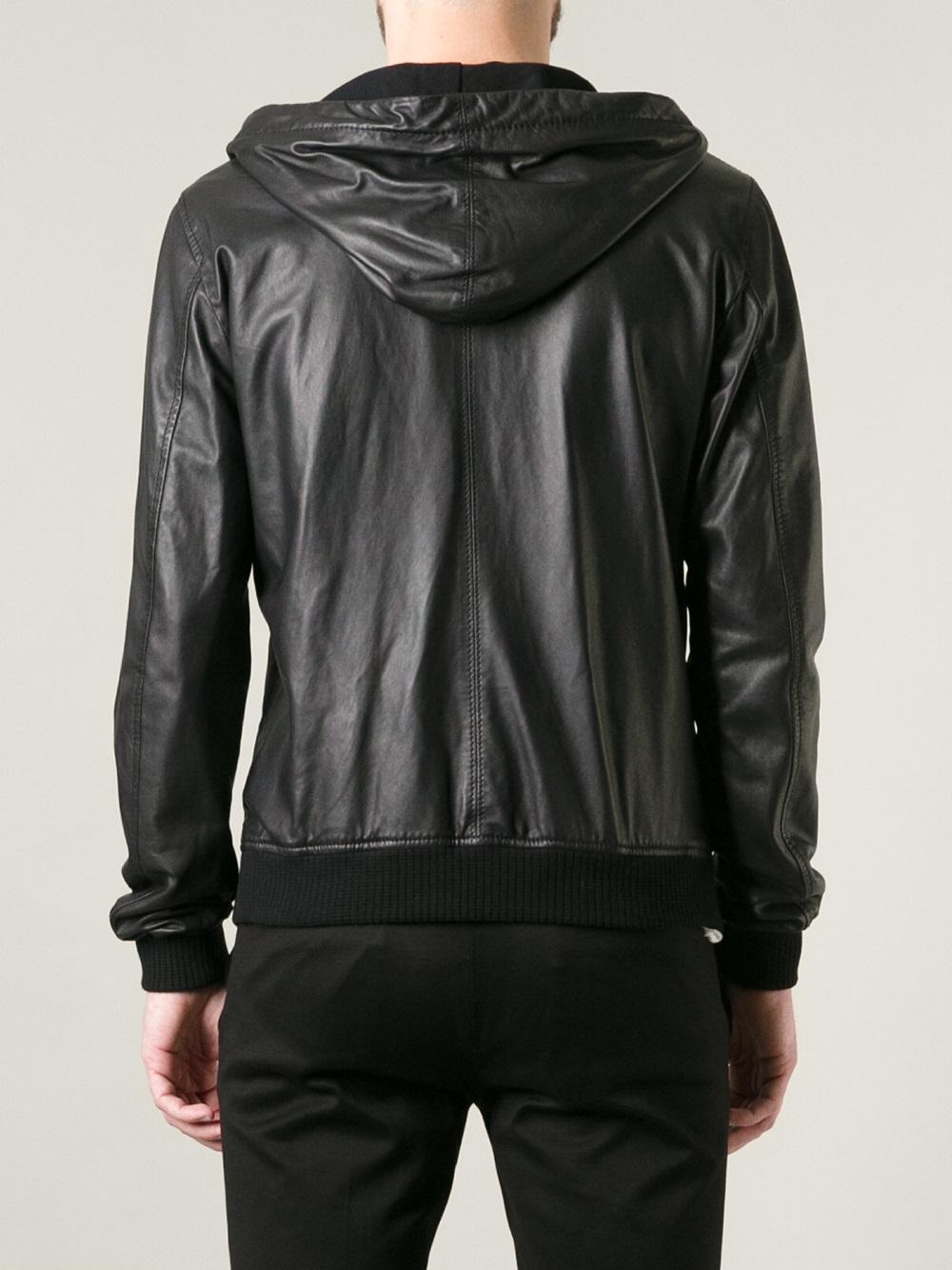 lyst dolce gabbana hooded leather jacket in black for men. Black Bedroom Furniture Sets. Home Design Ideas