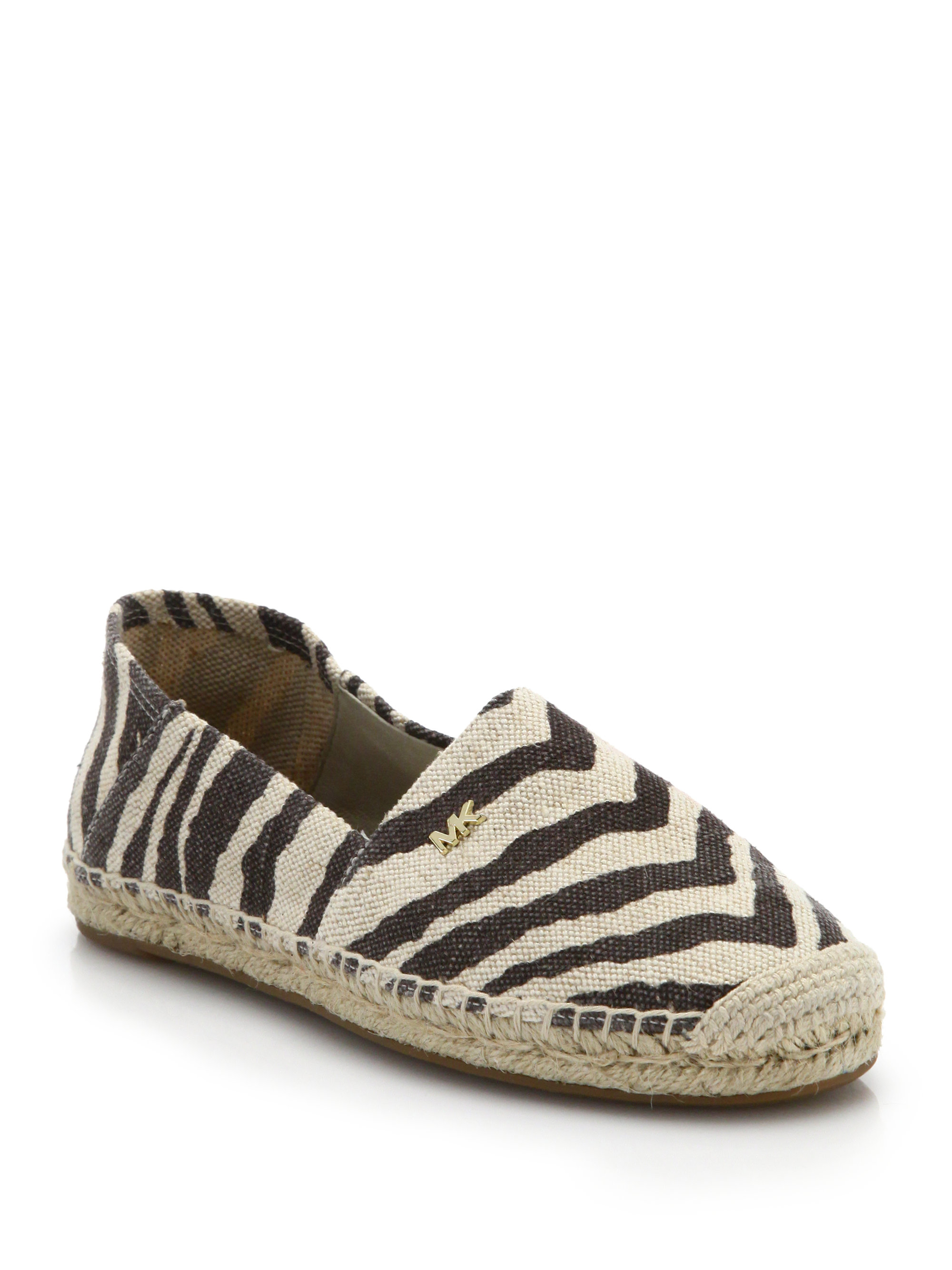 michael michael kors zebra print canvas espadrilles in natural lyst. Black Bedroom Furniture Sets. Home Design Ideas