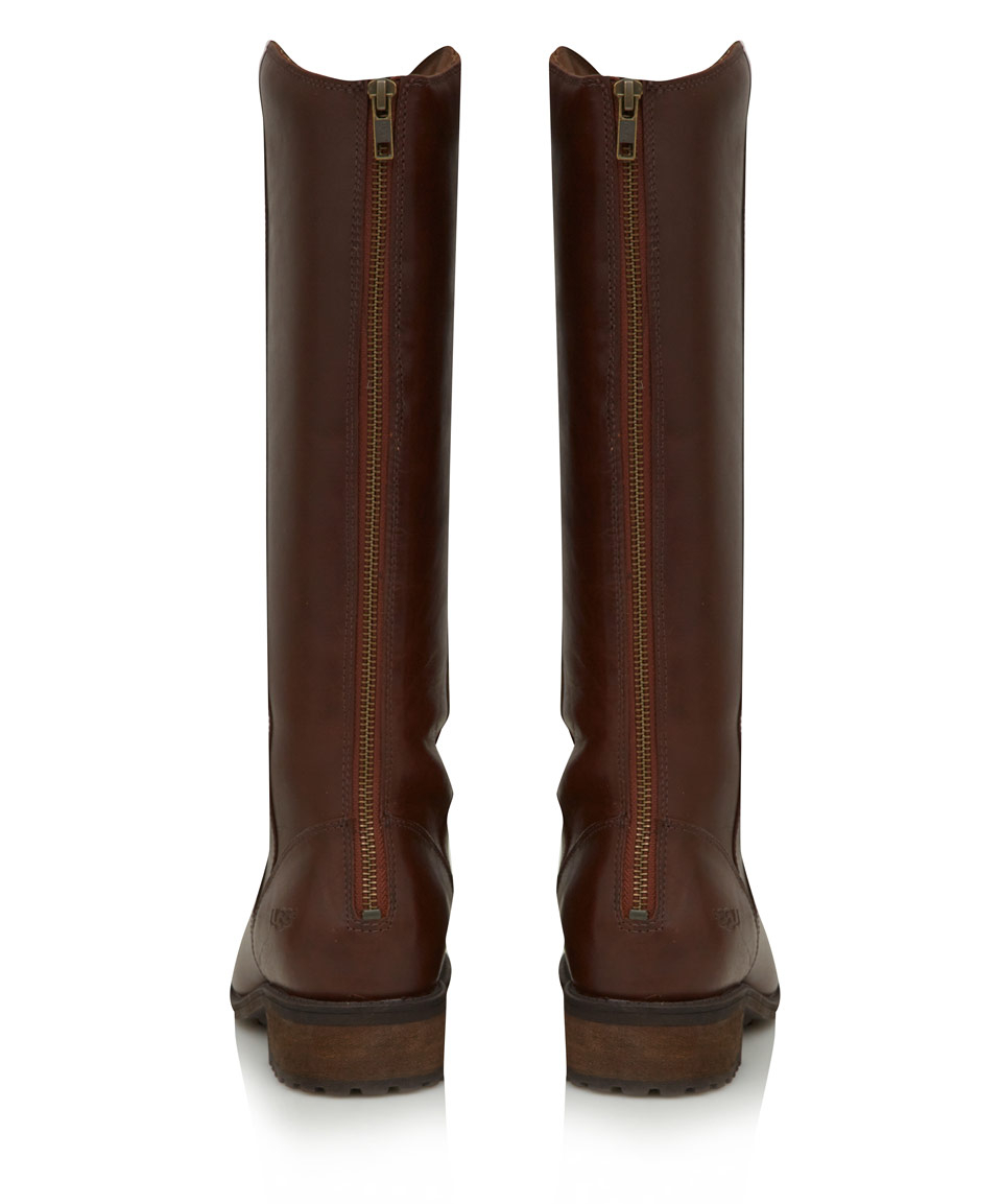 c474147872c UGG Brown Leather Seldon Flat Knee High Boots in Brown - Lyst