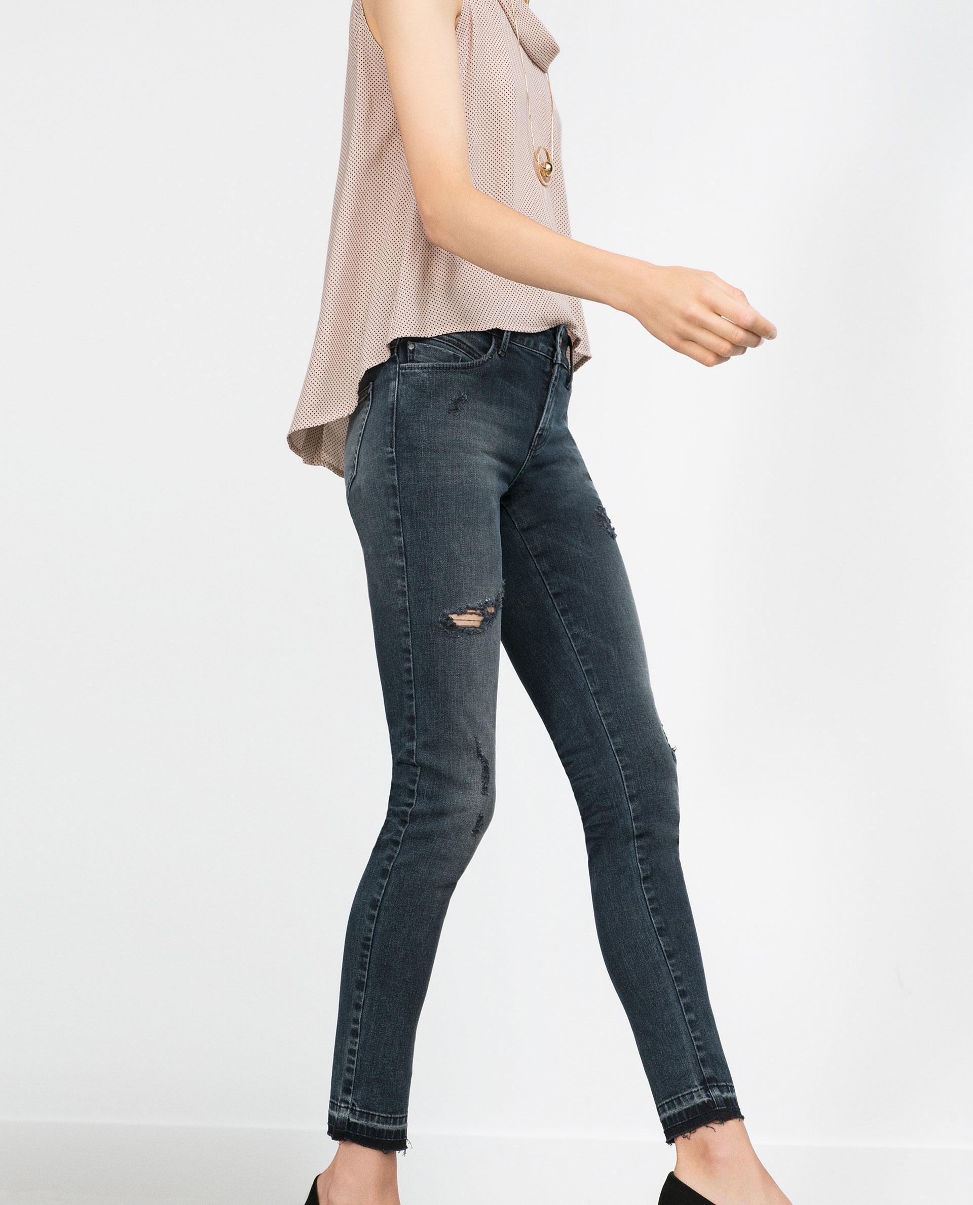 Luxury Zara Distressed Jeans In Blue  Lyst
