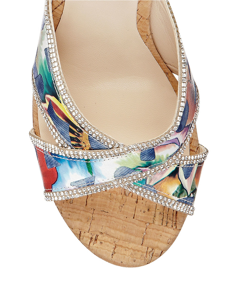 d8279edae19 Guess Eleonora Cork Platform Wedge Sandals in Blue - Lyst