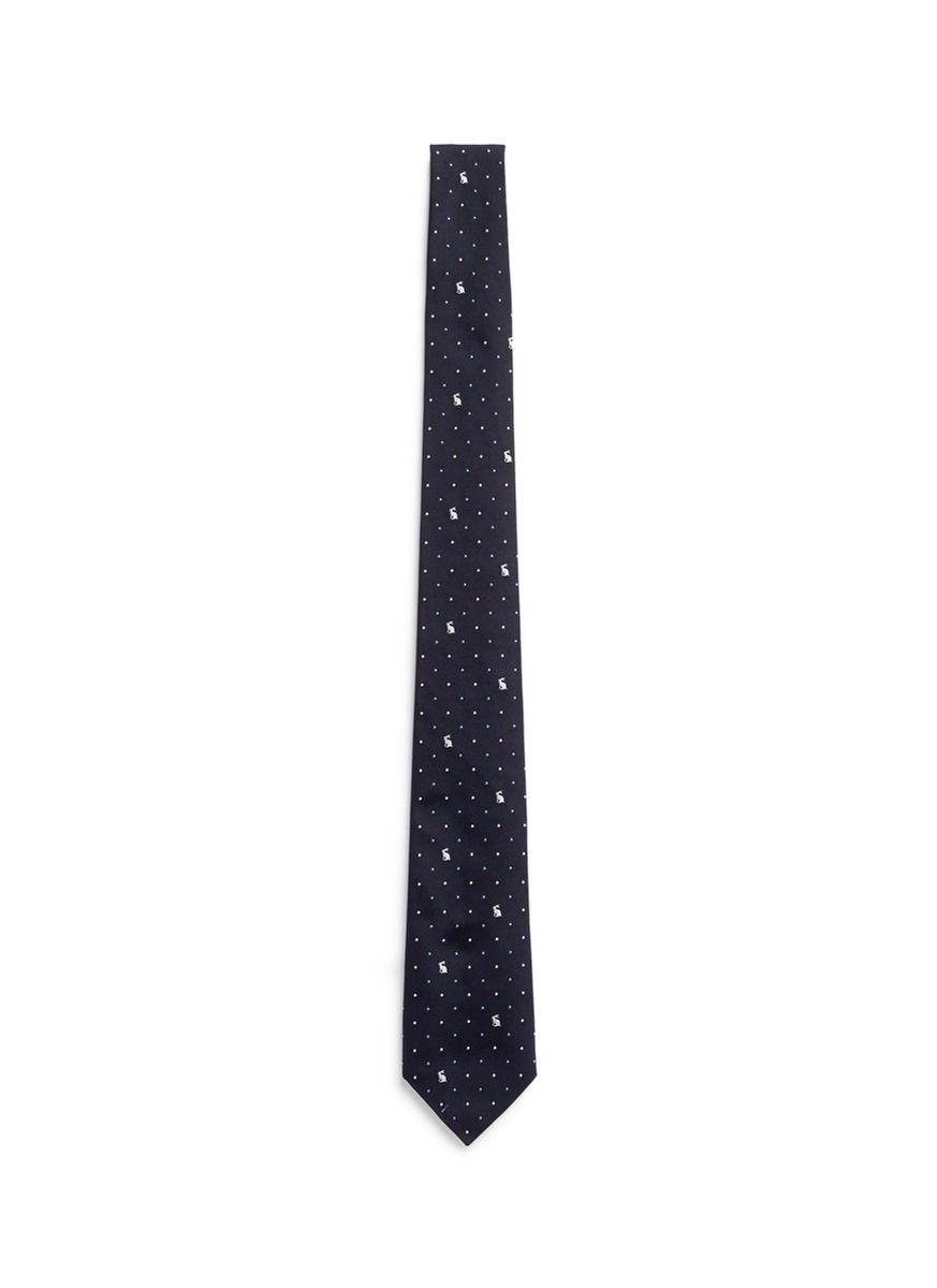 Polka-dot embroidered silk tie Paul Smith 7XxQIvMhAZ