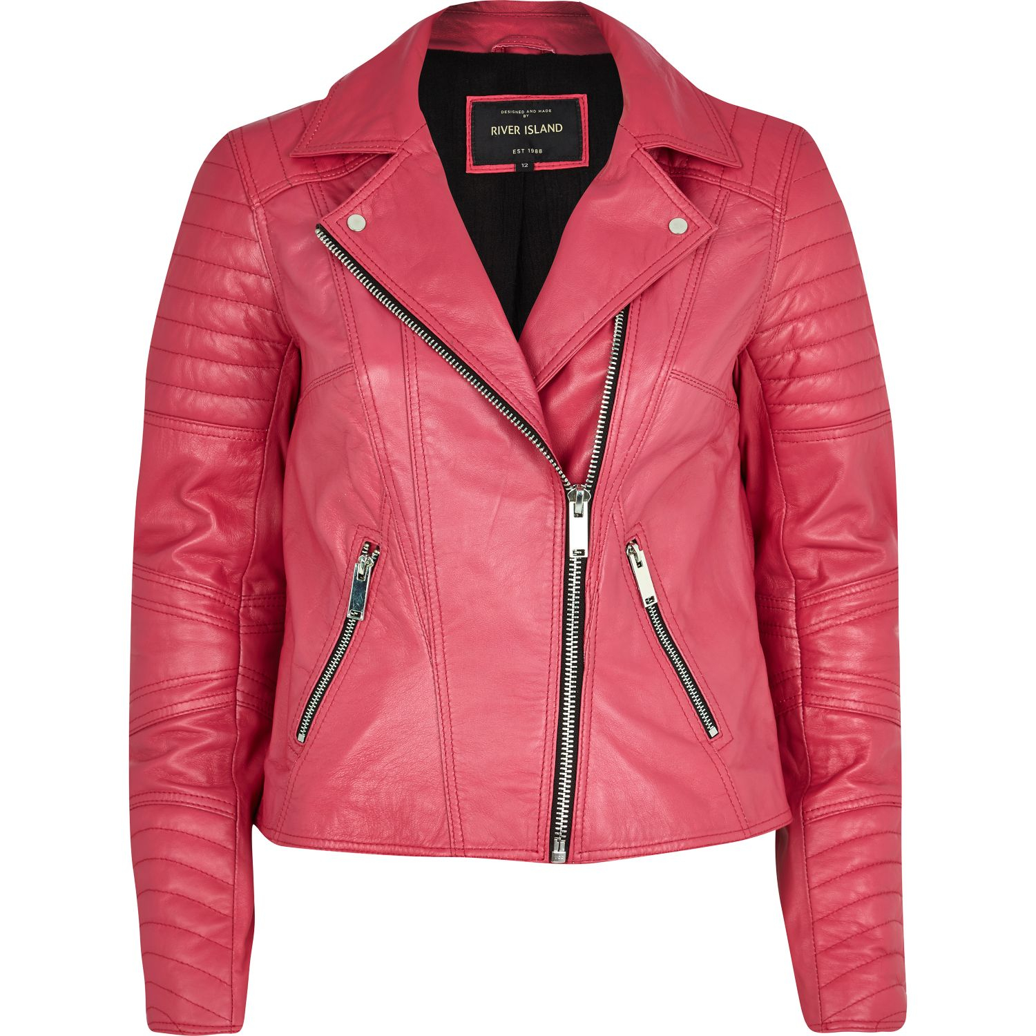 River Island Leather Bomber Jacket