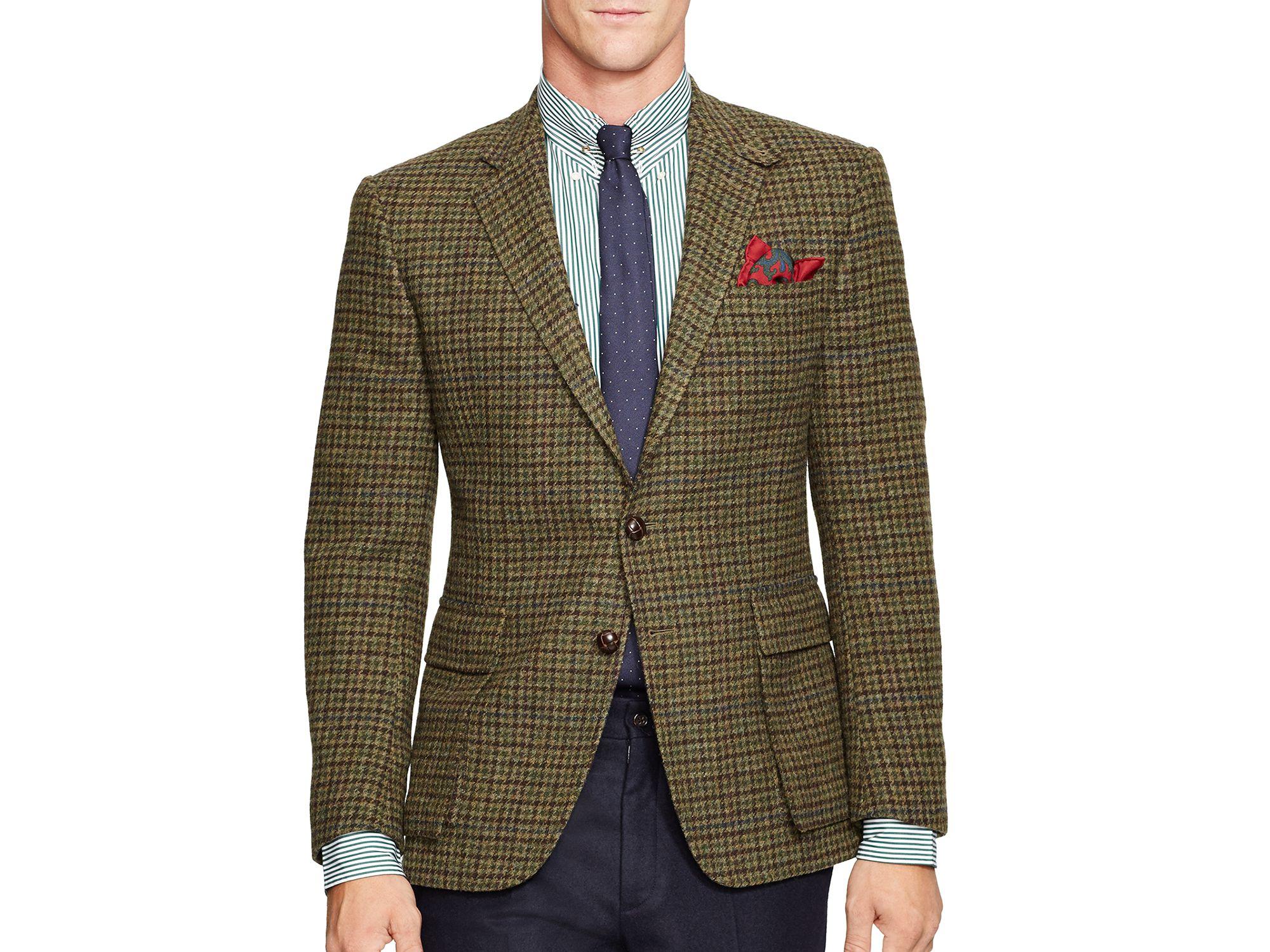 Ralph lauren Polo Guncheck Bedford Sport Coat in Green for Men | Lyst