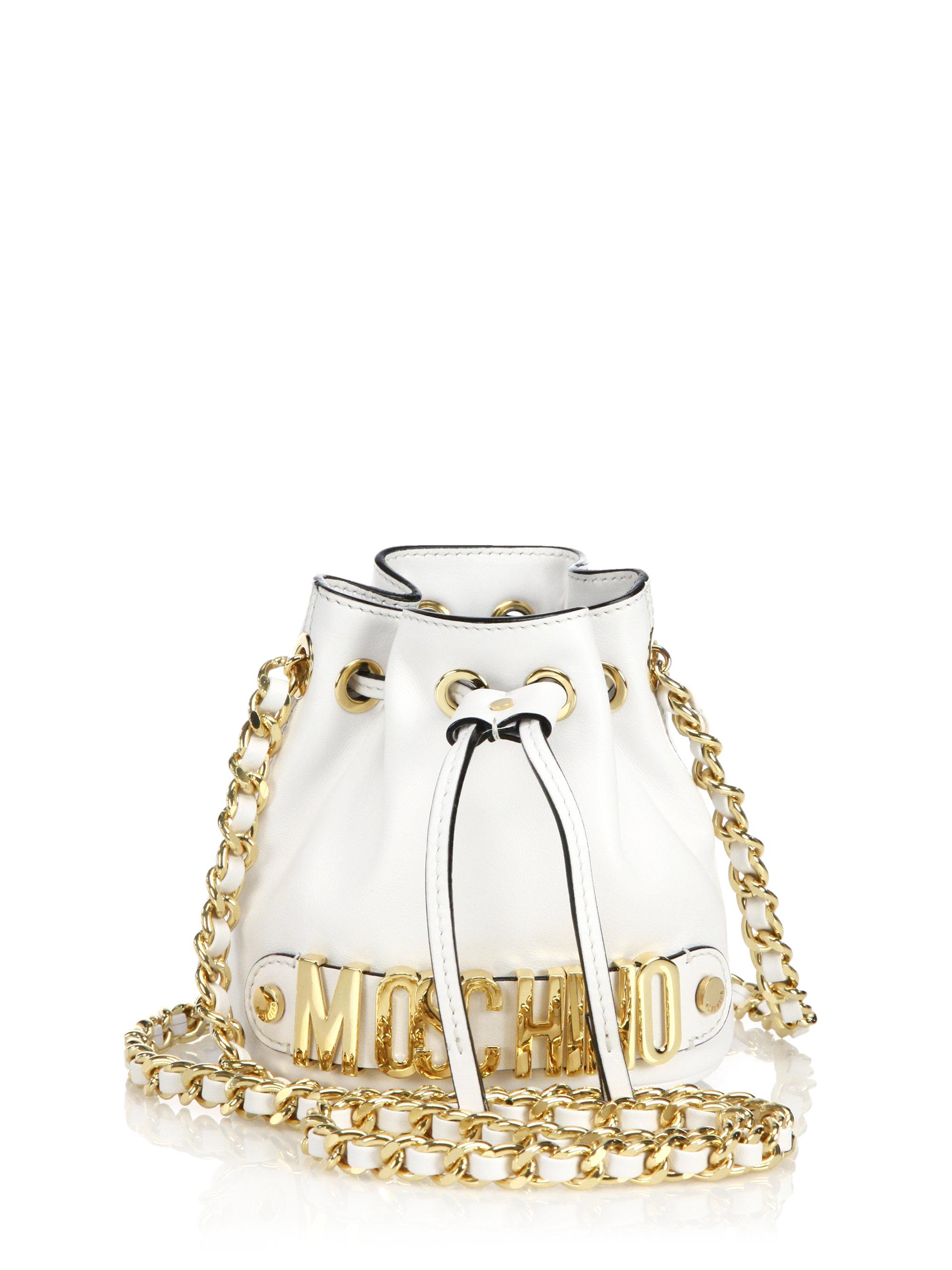6db543822c9 Moschino Logo Mini Bucket Bag in White - Lyst