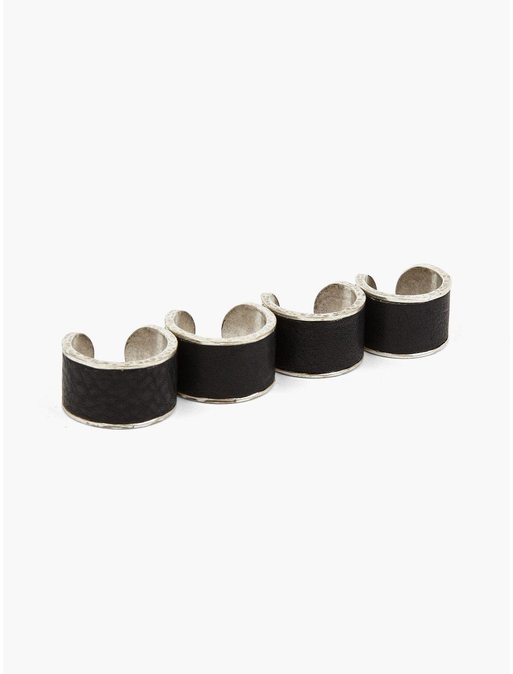 maison margiela 11 mens set of four rings in black for men silver lyst. Black Bedroom Furniture Sets. Home Design Ideas