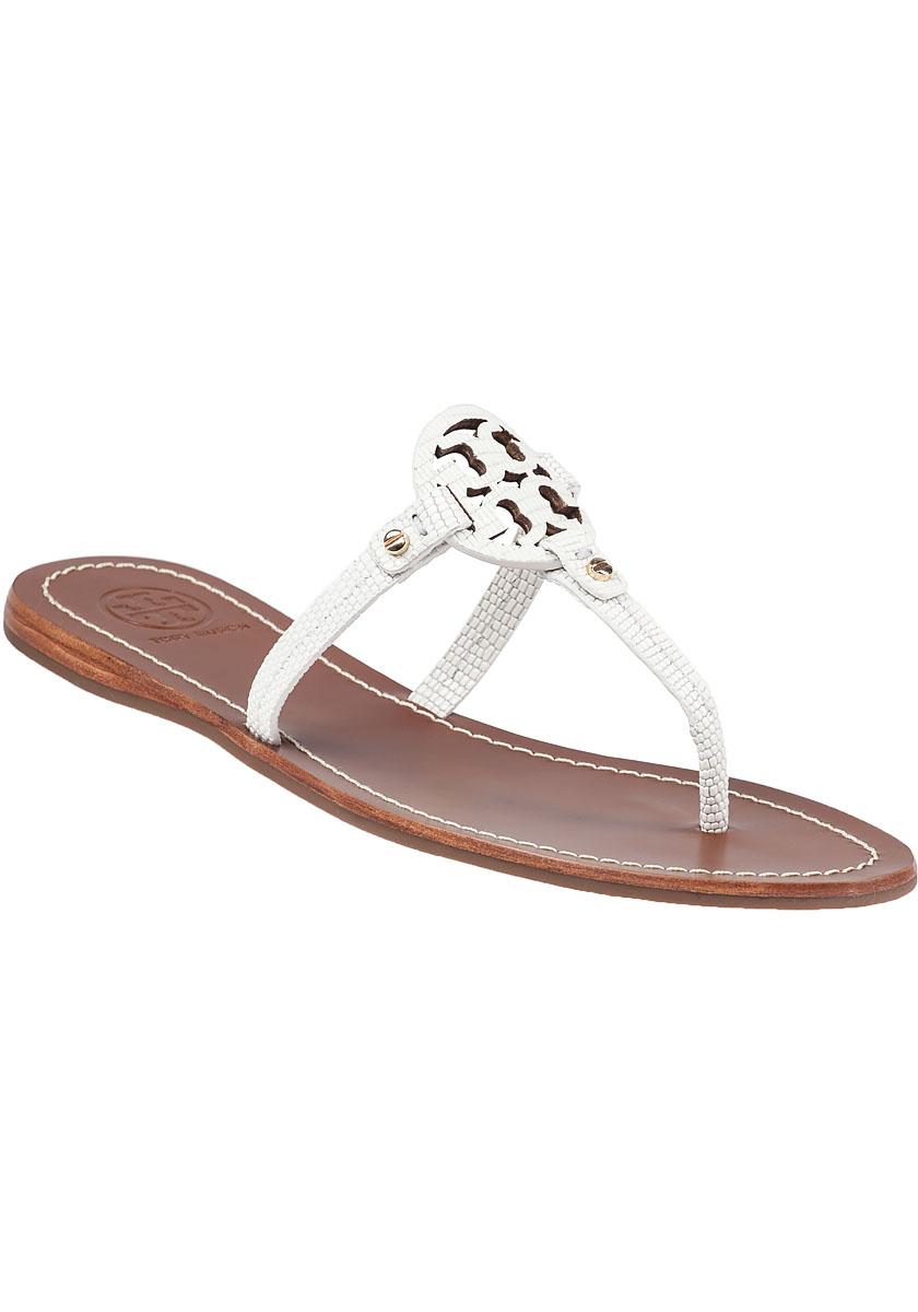 a6bc1dd65dc148 Tory Burch Mini Miller Flat Sandals in White - Lyst