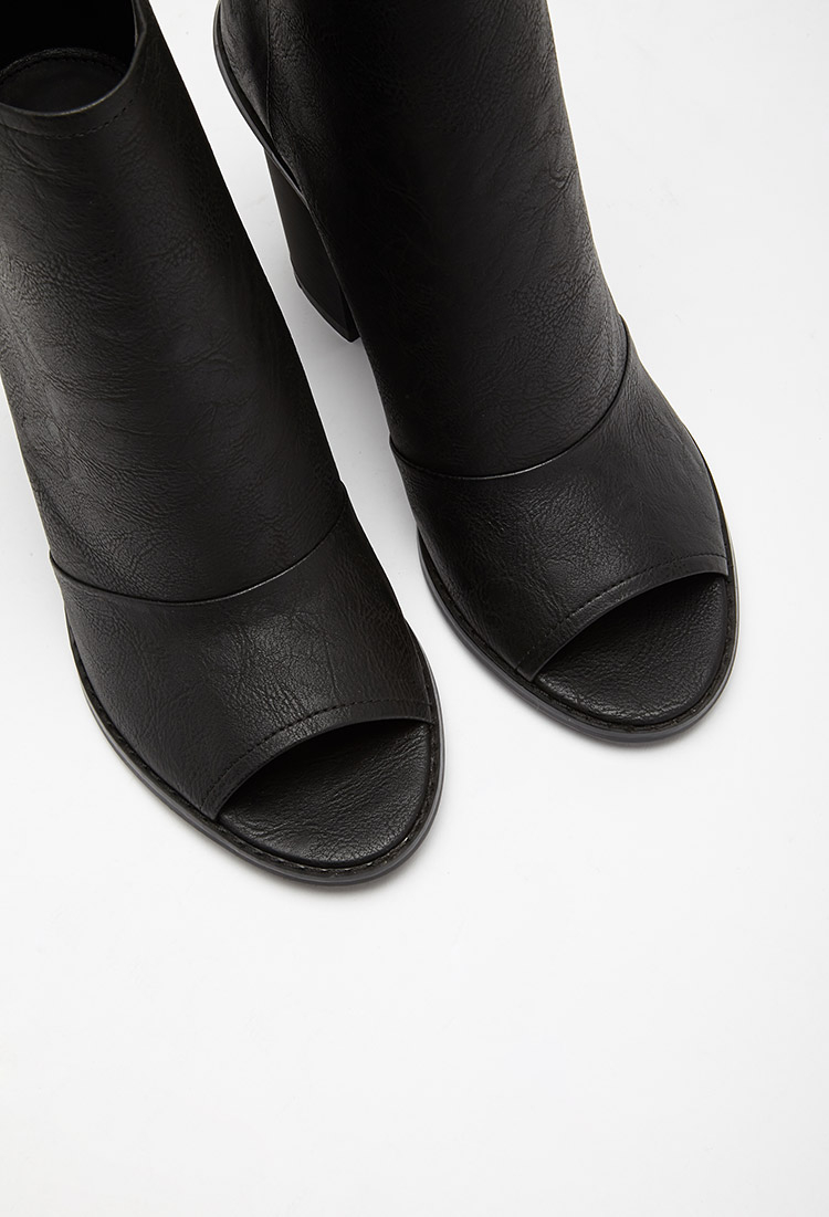 Forever 21 Faux Leather Peep Toe Booties In Black Lyst
