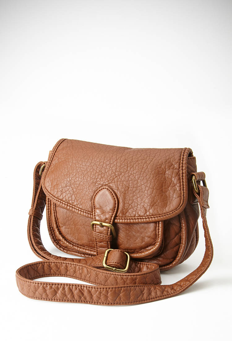 forever 21 faux leather crossbody bag in brown lyst