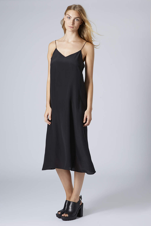 03864627c26fe TOPSHOP Womens Midi Swing Silk Slip Dress by Boutique Black in Black ...