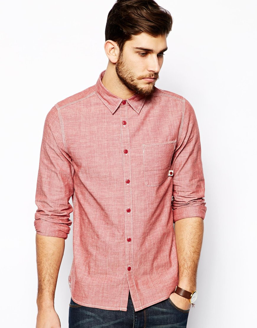 Asos Shirt With Long Sleeves In Japanese Denim in Red for Men | Lyst