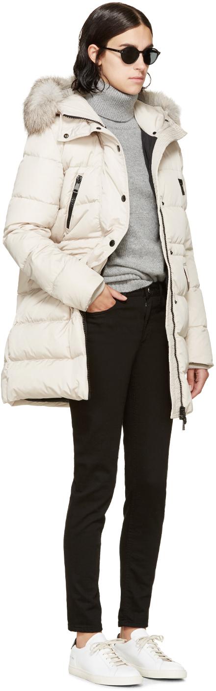 cream moncler coat