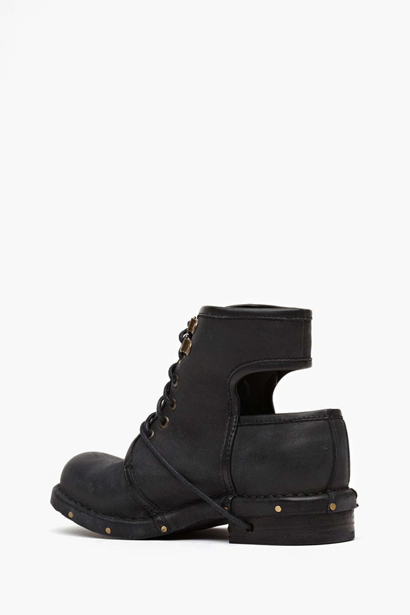 0e01e123a270 Lyst - Nasty Gal Jeffrey Campbell Rosie Cutout Combat Boot in Black