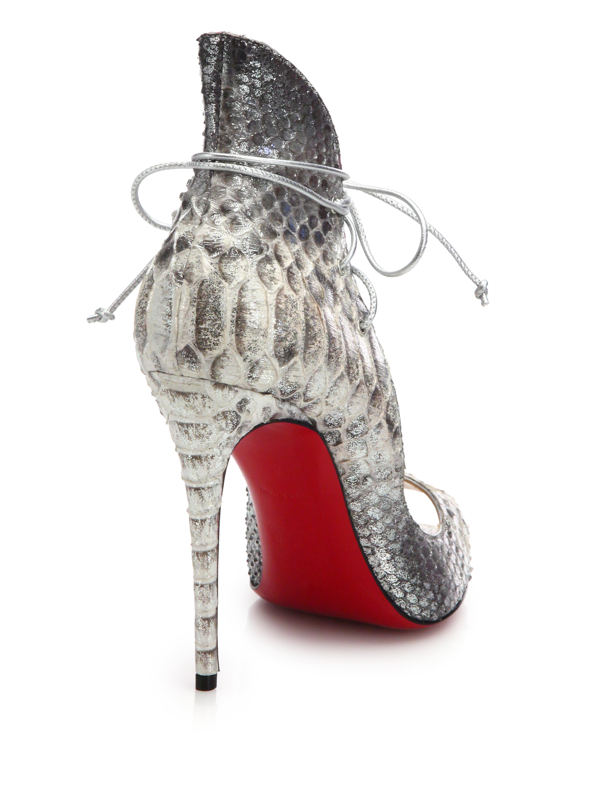 replica man christian louboutin - Christian louboutin Megavamp Python-Embossed Leather Pumps in Gray ...