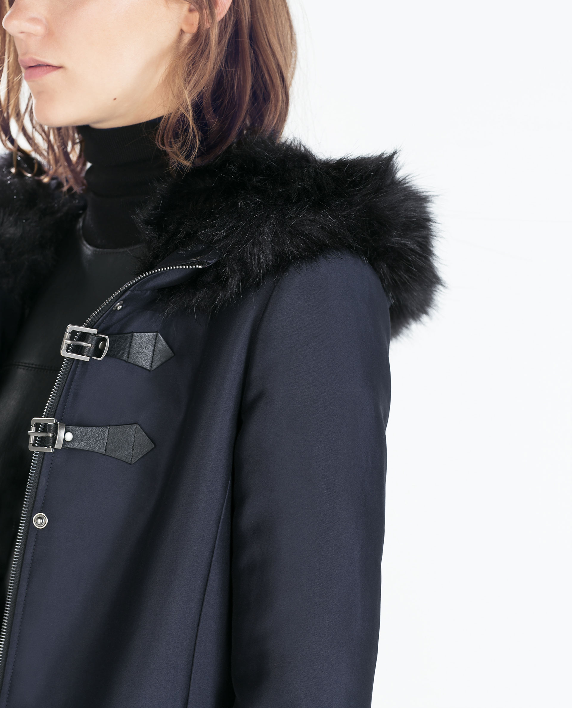 Zara Faux Fur Hooded Duffle Coat With Toggles in Blue | Lyst