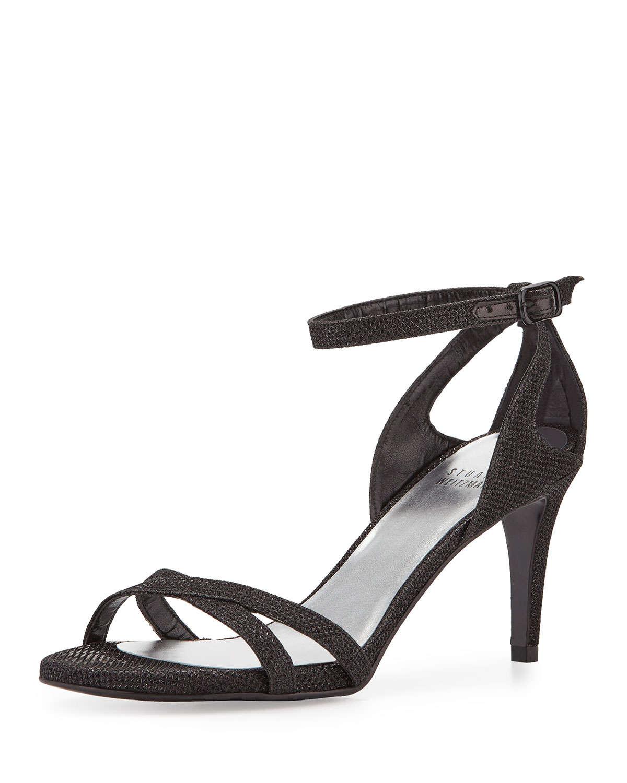 Black Strappy Mid Heel Sandals