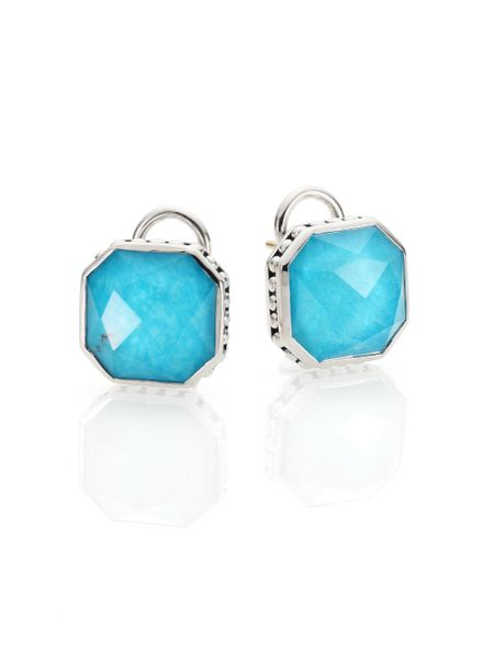 Lagos Turquoise Doublet Sterling Silver Earrings In Blue