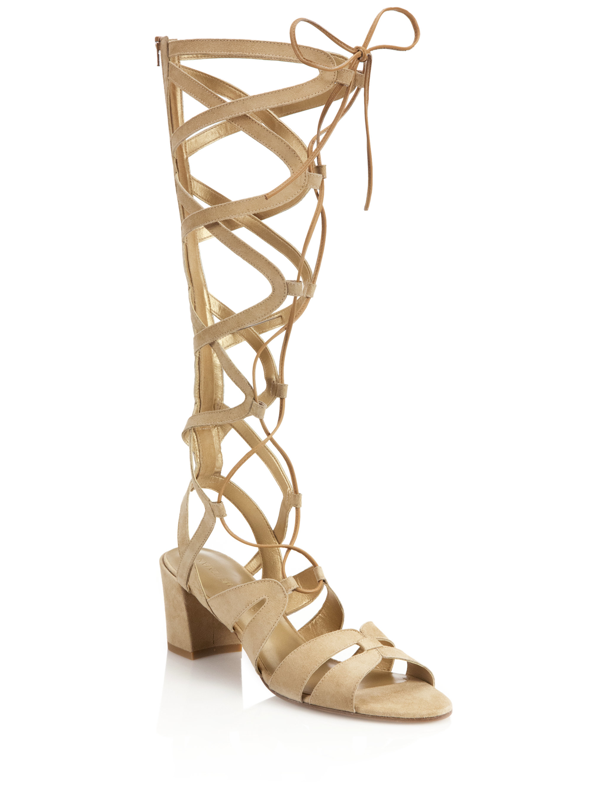 7f0e04a52449 Lyst - Stuart Weitzman Grecian Tall Suede Gladiator Sandals in Natural