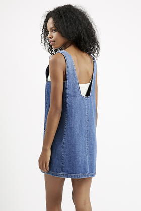 d836365353 Lyst - TOPSHOP Moto Square Neck Denim Pinafore Dress in Blue
