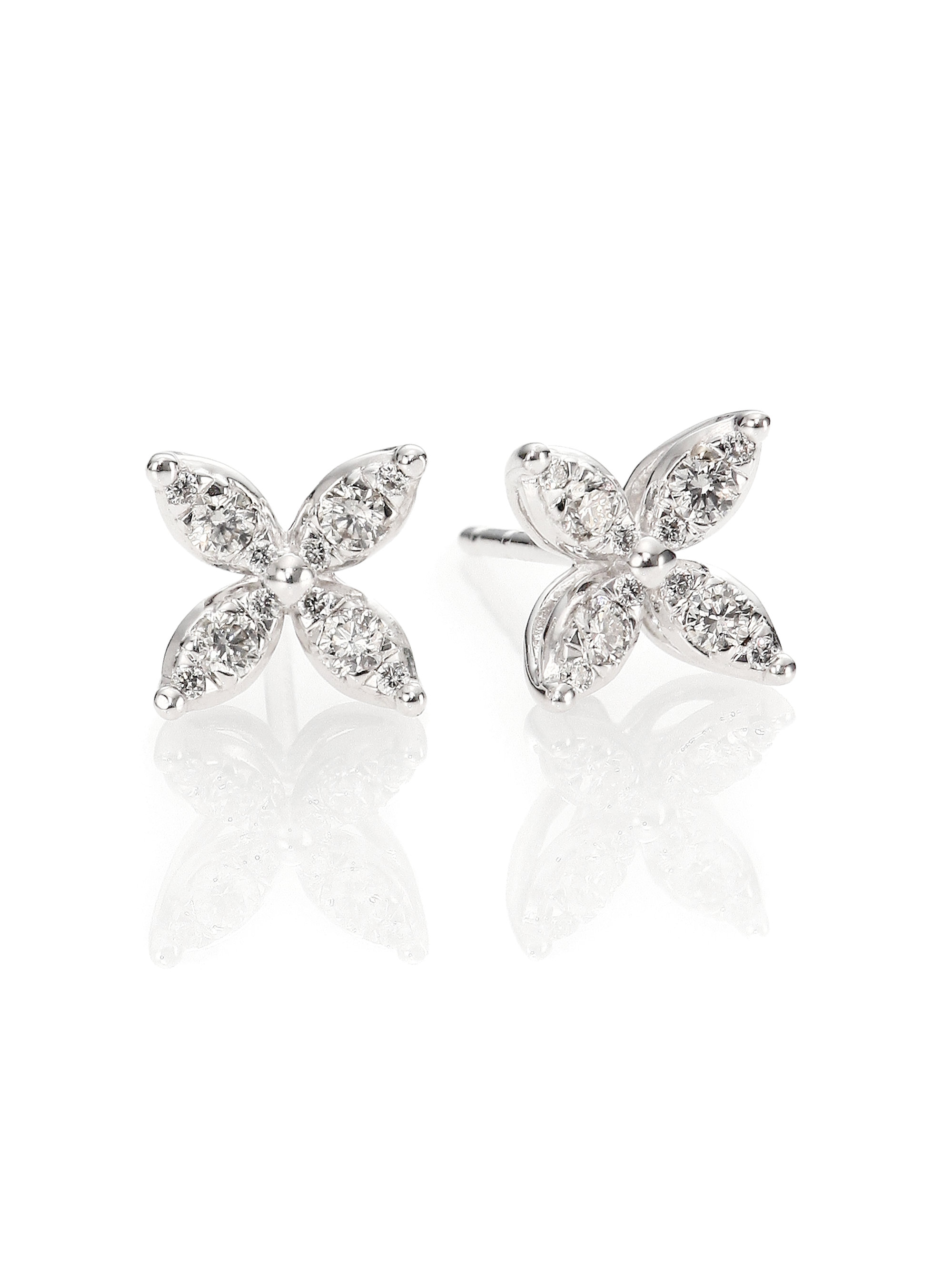 three round front earrings martini jewellery side in stud diamond prong