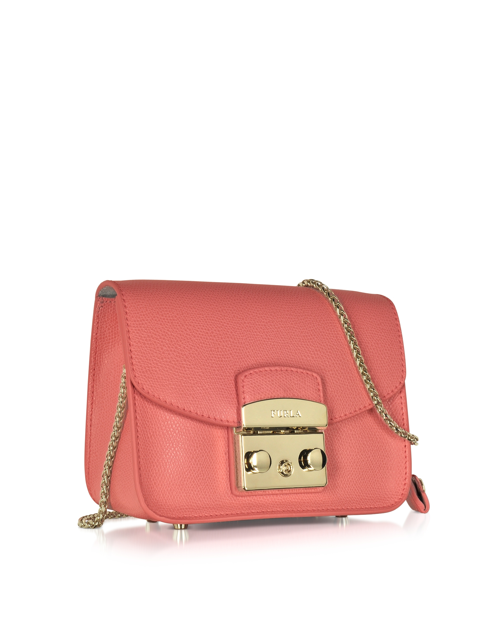 Furla Metropolis Coral Leather Shoulder Bag in Pink
