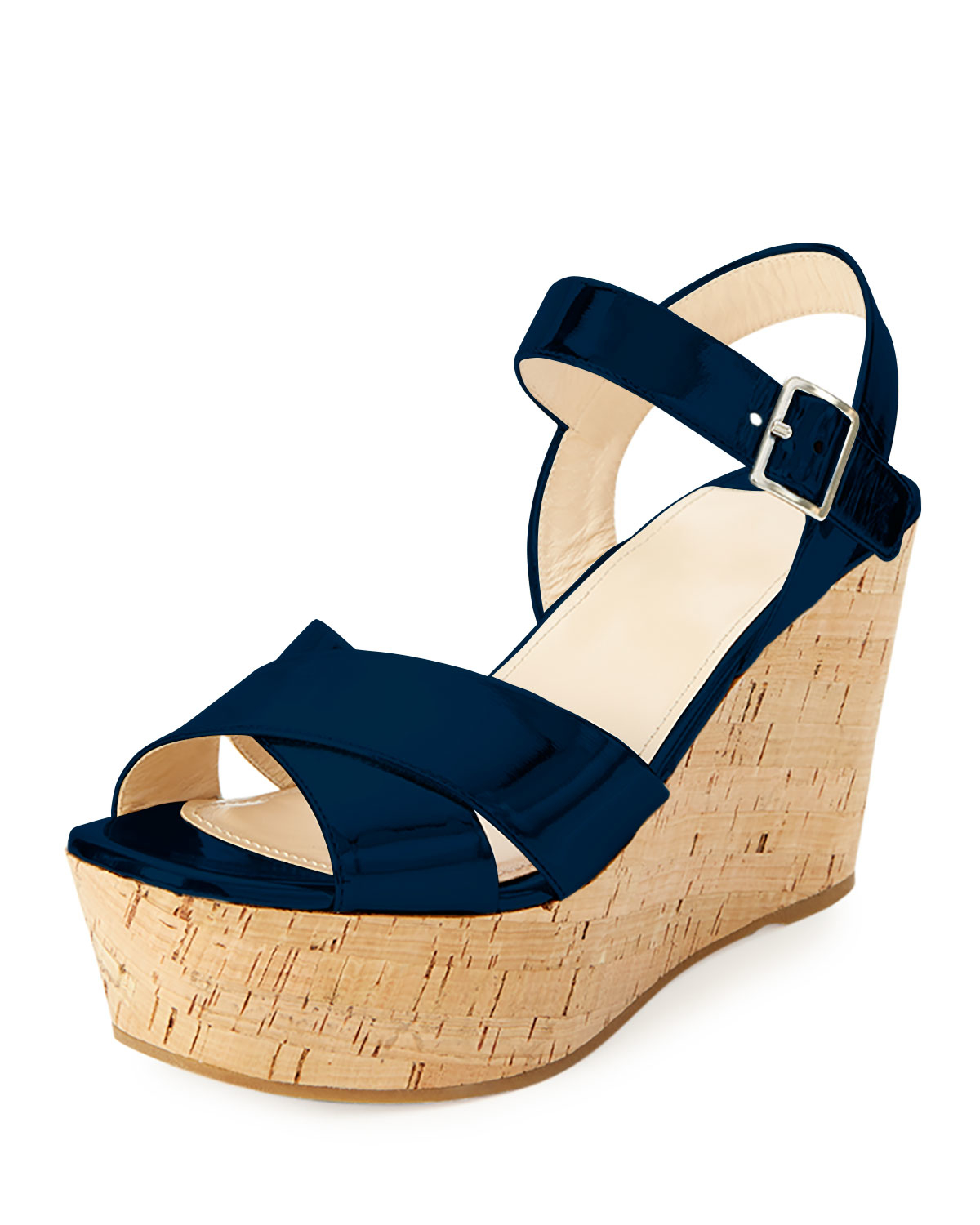31cc89e2c964 Lyst - Prada Patent Leather Cork Wedge Sandal in Blue
