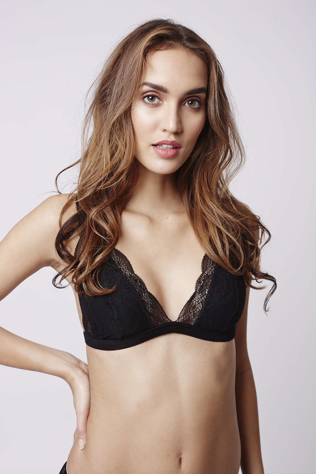 a9db392045cfc Lyst - TOPSHOP Jersey Lace Triangle Bra in Black