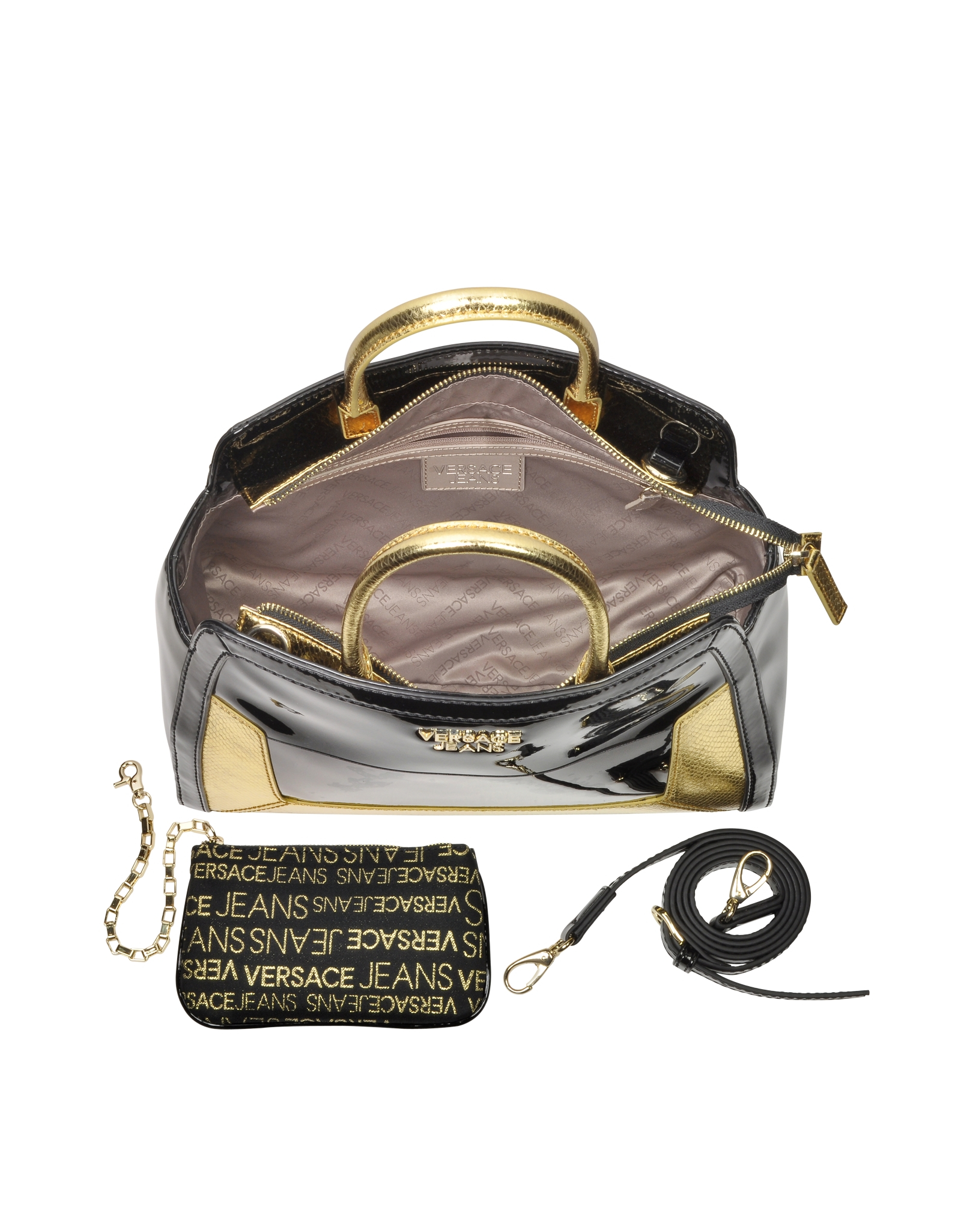 Versace Jeans Black Patent Eco Leather and Gold Python Stamped ... 876ef1b435e22