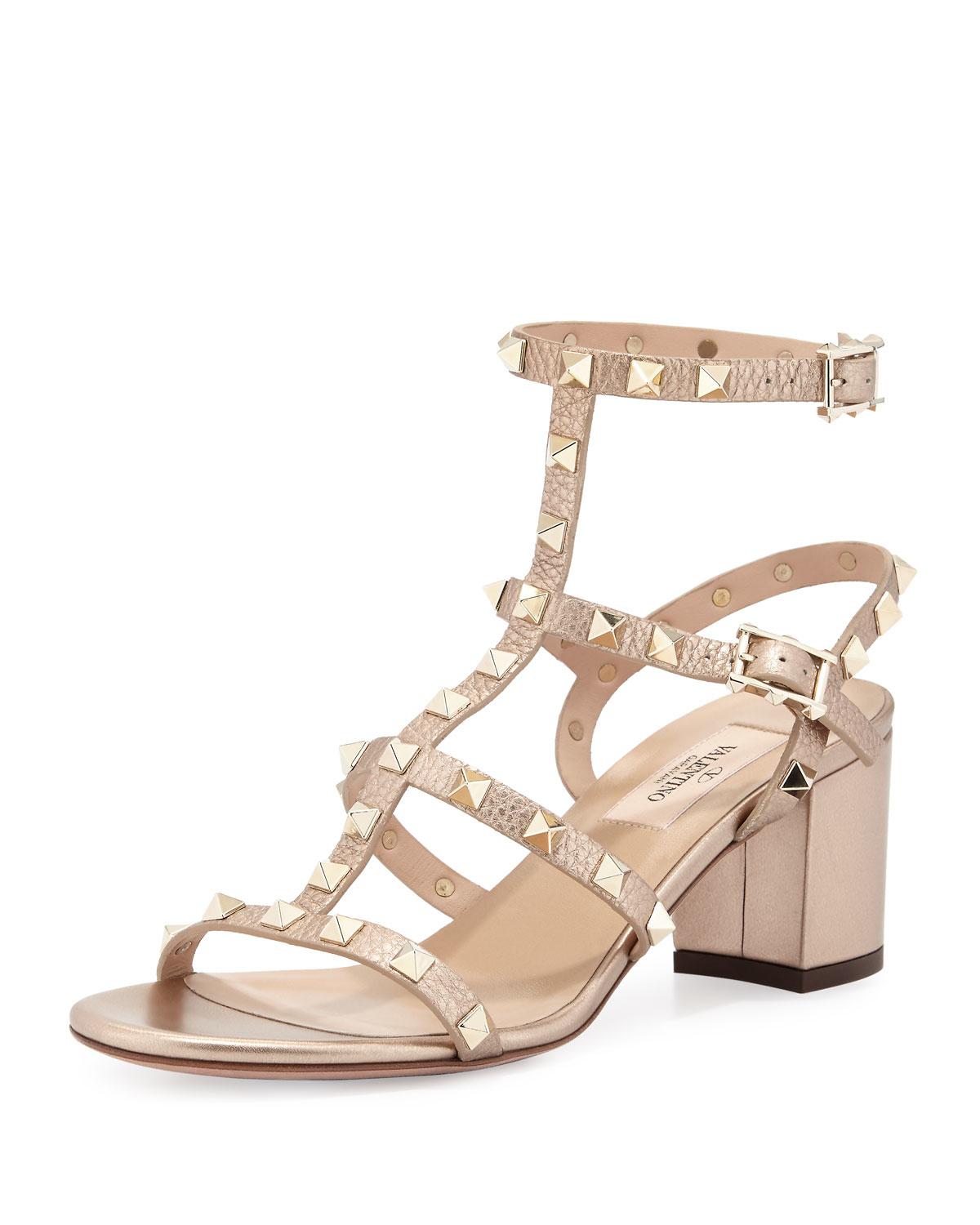 valentino rockstud leather sandals in metallic lyst. Black Bedroom Furniture Sets. Home Design Ideas