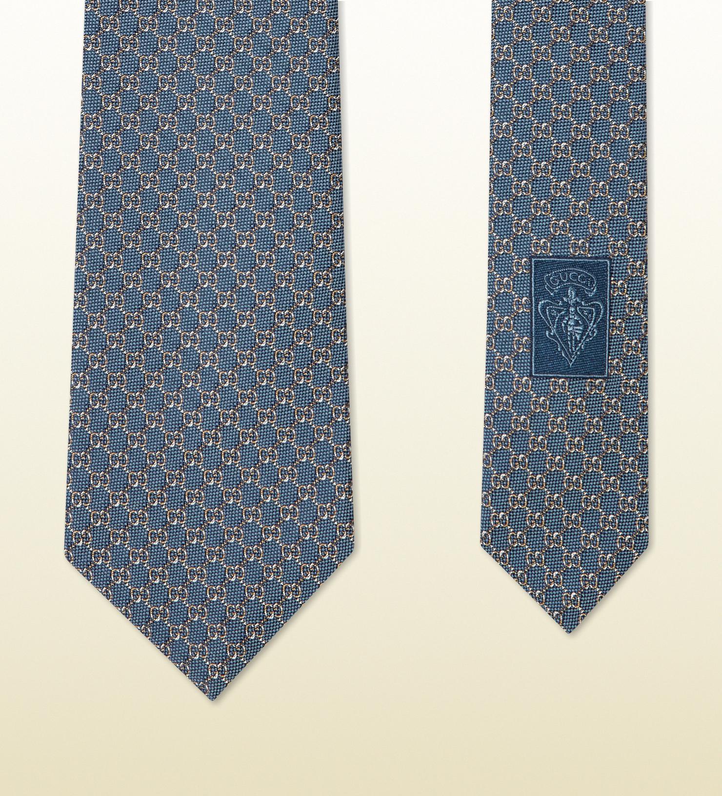 1676849efe9 Lyst - Gucci Gg Pattern Silk Tie in Blue for Men