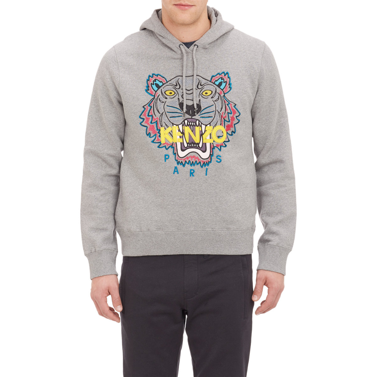ad85fec1a KENZO Embroidered Tiger Hoodie in Gray for Men - Lyst