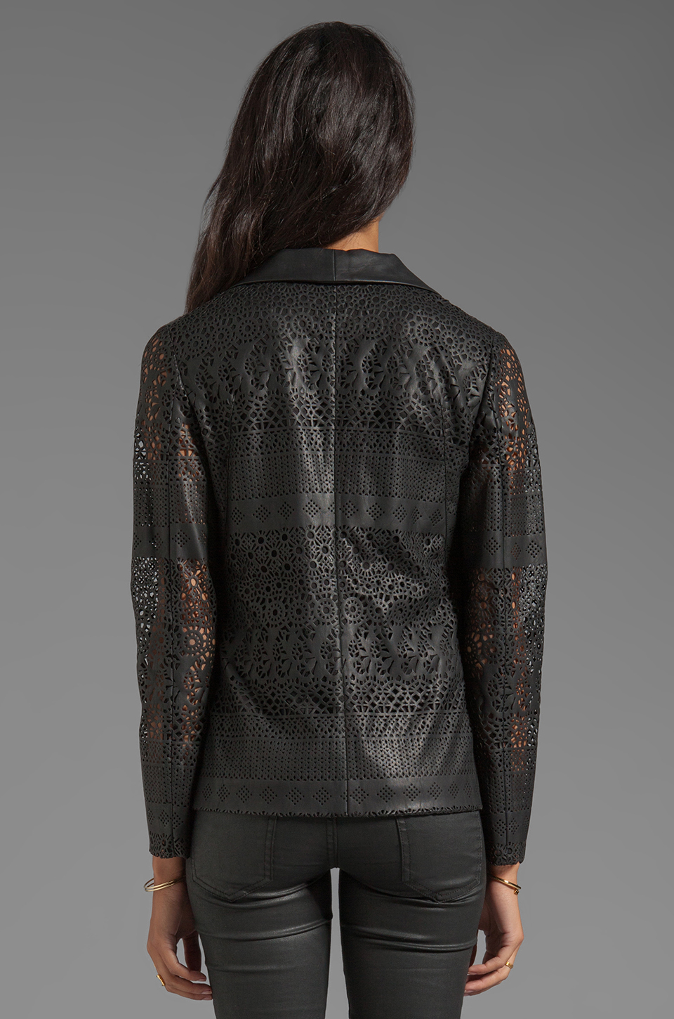 Lyst Dolce Vita Tacey Laser Cut Faux Leather Blazer In