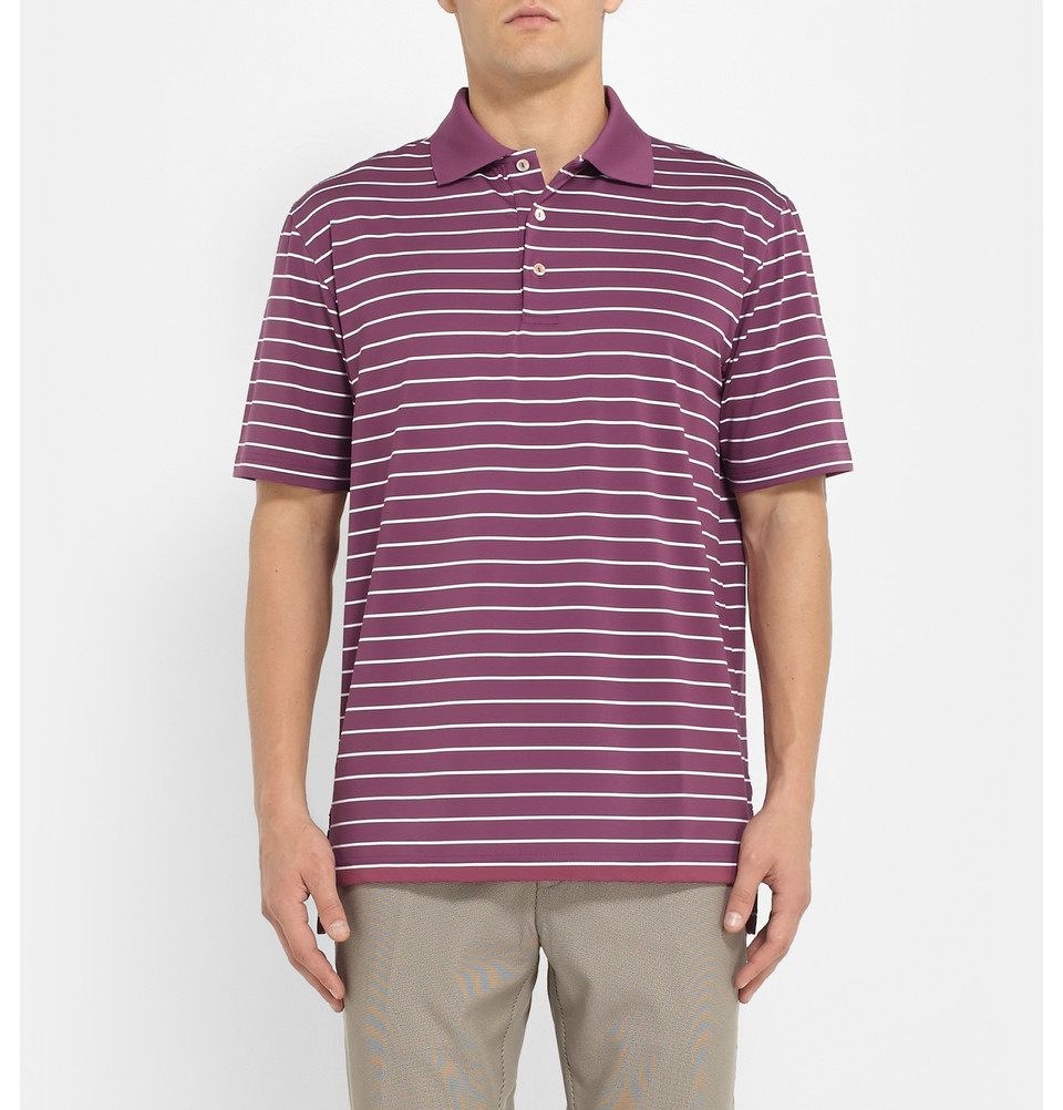 Peter millar quarter striped stretch jersey golf polo for Peter millar polo shirts