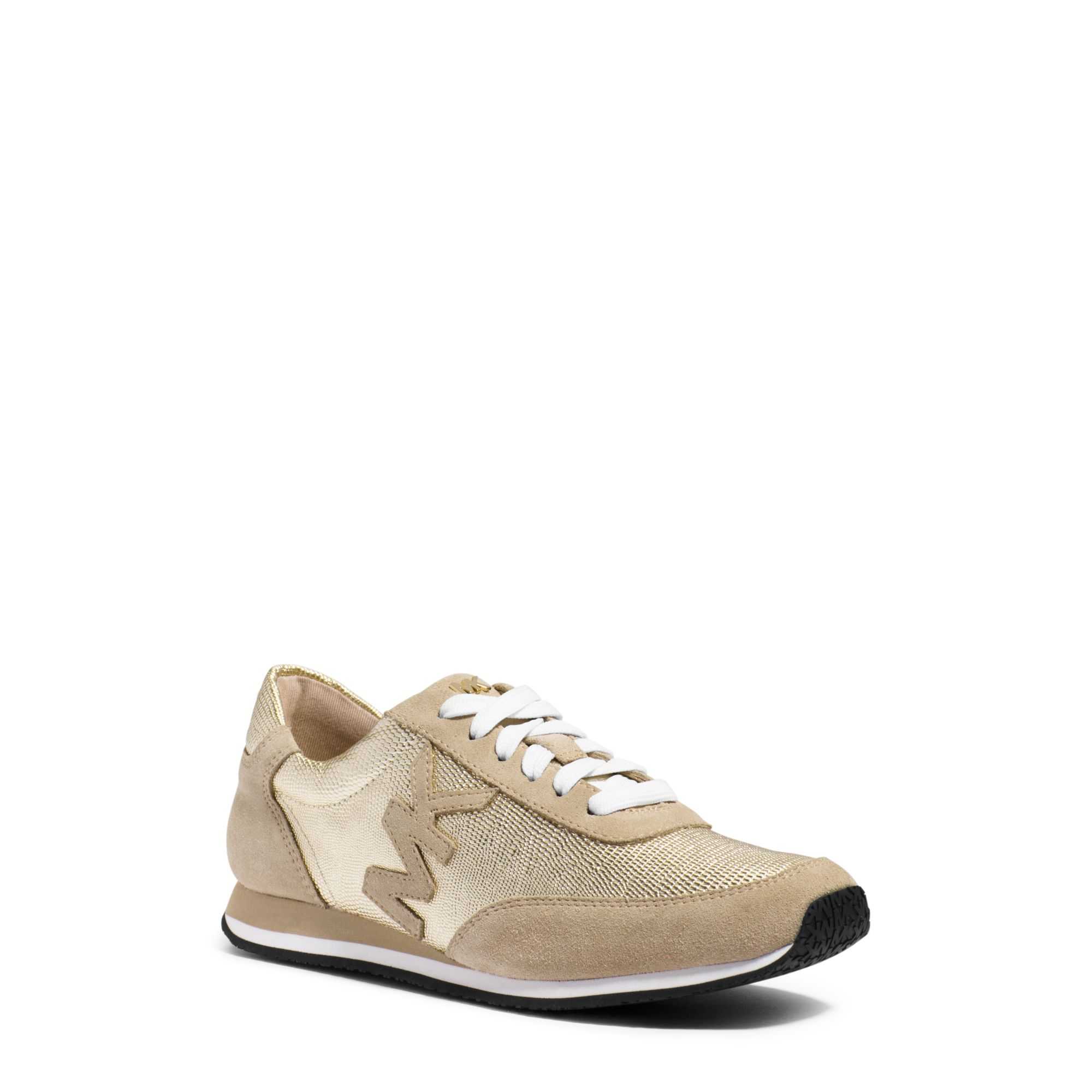 b6714e697d78 Lyst - Michael Kors Stanton Leather And Suede Sneaker in Metallic
