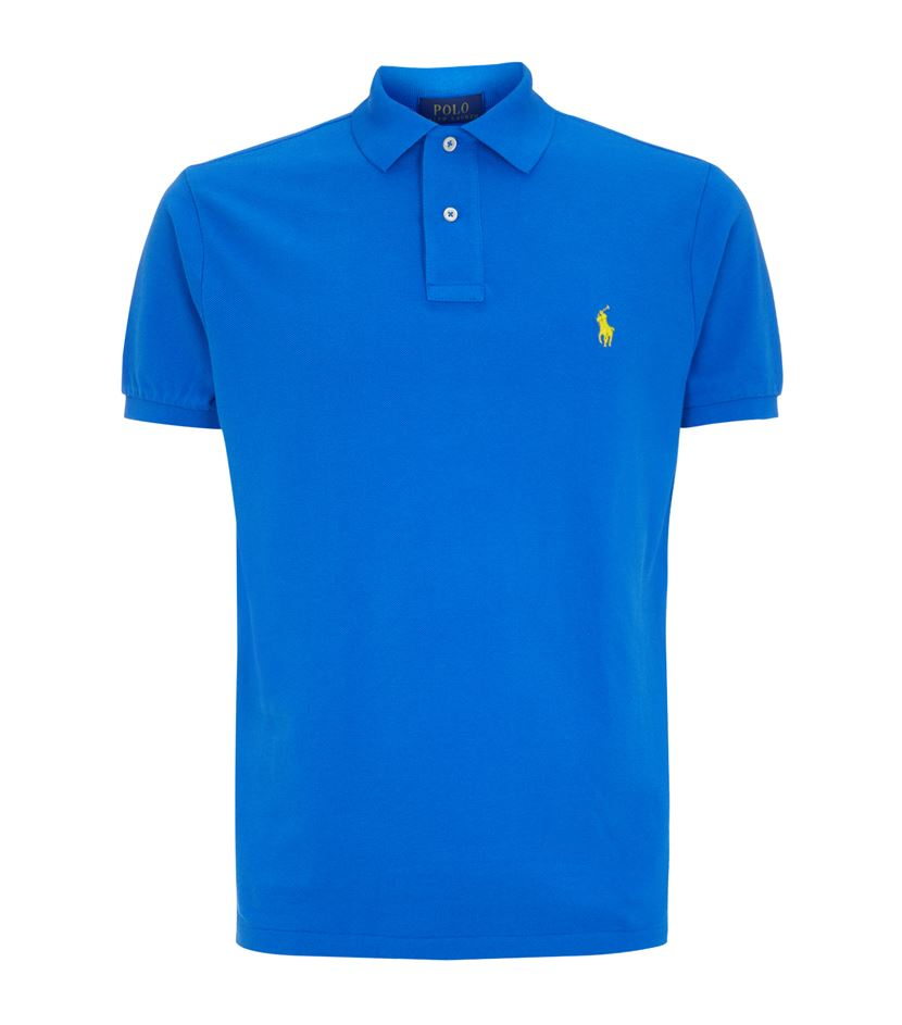 Polo ralph lauren custom fit logo polo shirt in blue for for Personalised logo polo shirts