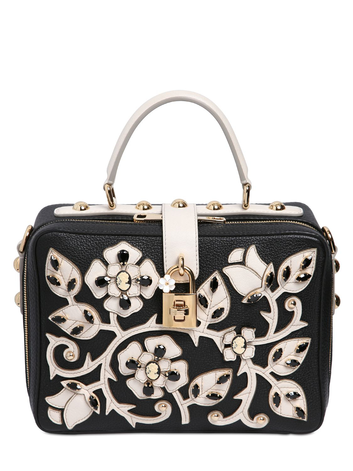 Lyst - Dolce   Gabbana Large Floral Leather Dolce Bag in Black 1b148f45fa74f